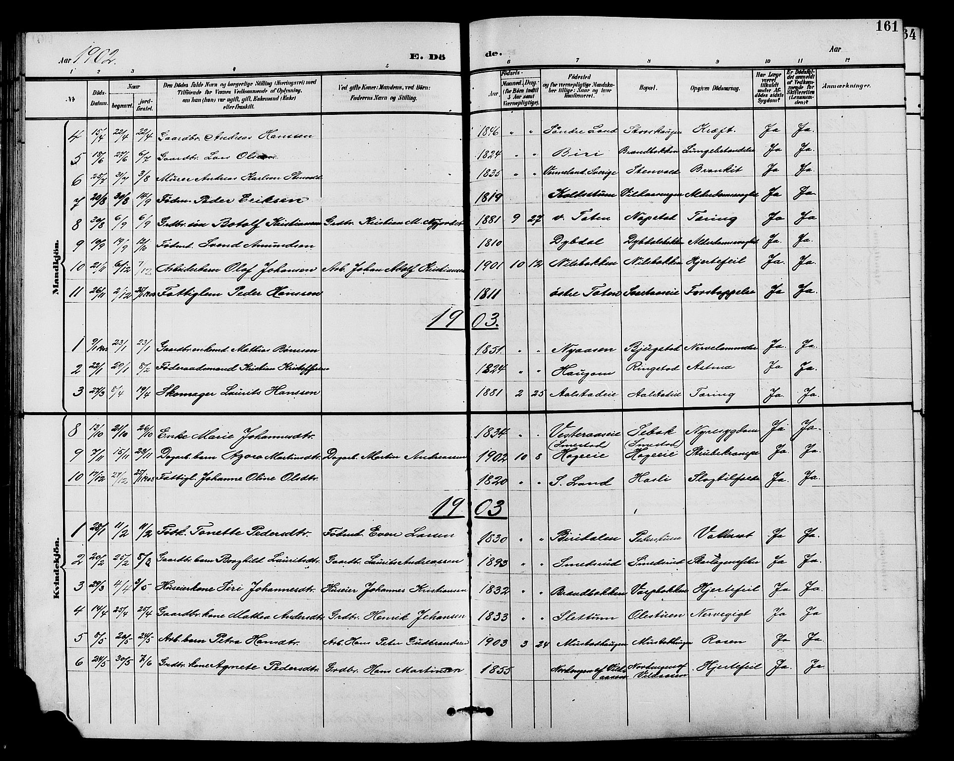 SAH, Vardal prestekontor, H/Ha/Hab/L0011: Klokkerbok nr. 11, 1899-1913, s. 161