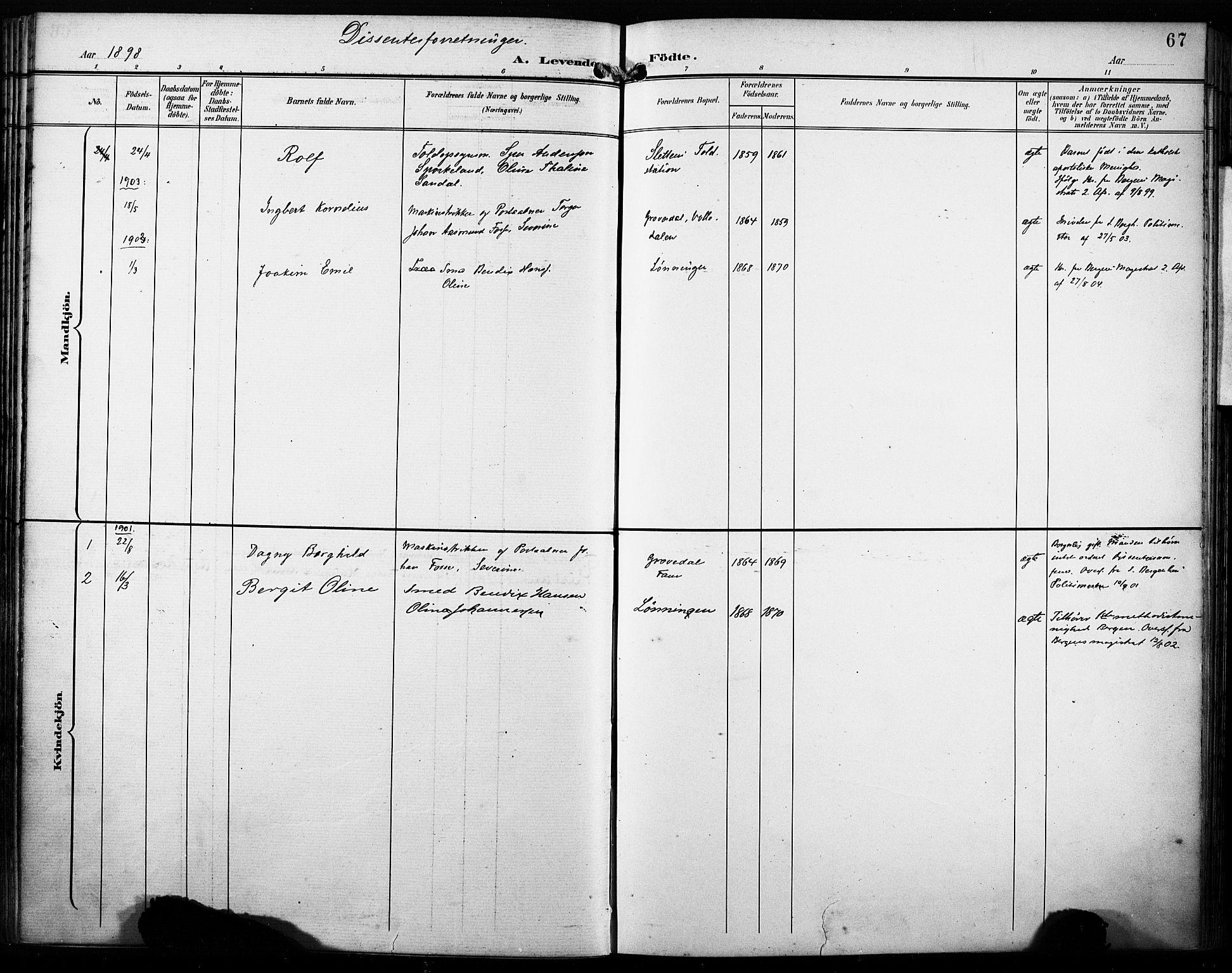 SAB, Fana Sokneprestembete, H/Haa/Haab/L0003: Ministerialbok nr. B 3, 1898-1907, s. 67