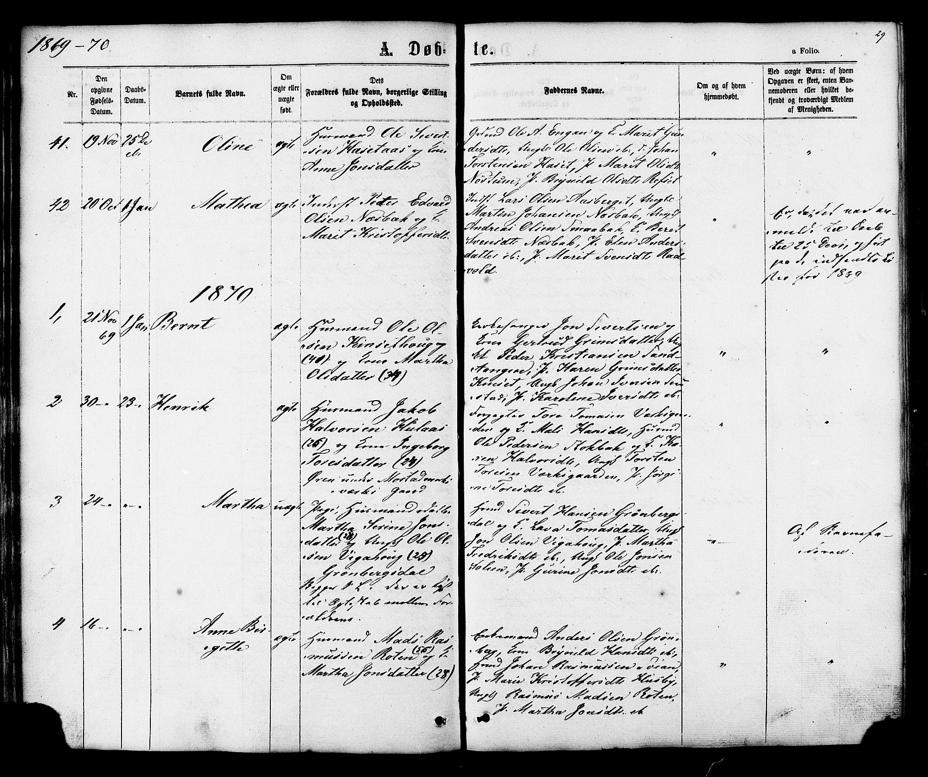 SAT, Ministerialprotokoller, klokkerbøker og fødselsregistre - Sør-Trøndelag, 616/L0409: Ministerialbok nr. 616A06, 1865-1877, s. 29