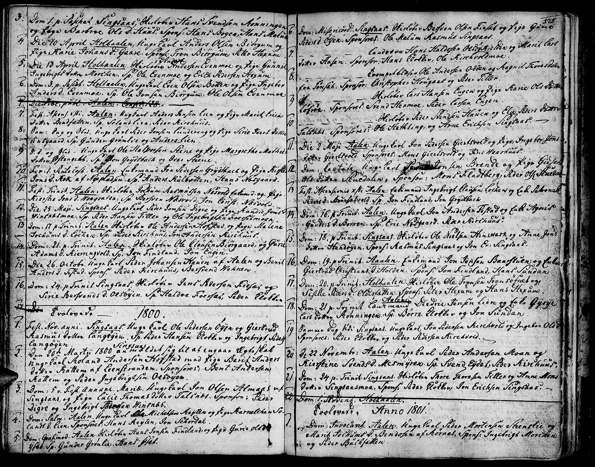 SAT, Ministerialprotokoller, klokkerbøker og fødselsregistre - Sør-Trøndelag, 685/L0952: Ministerialbok nr. 685A01, 1745-1804, s. 125