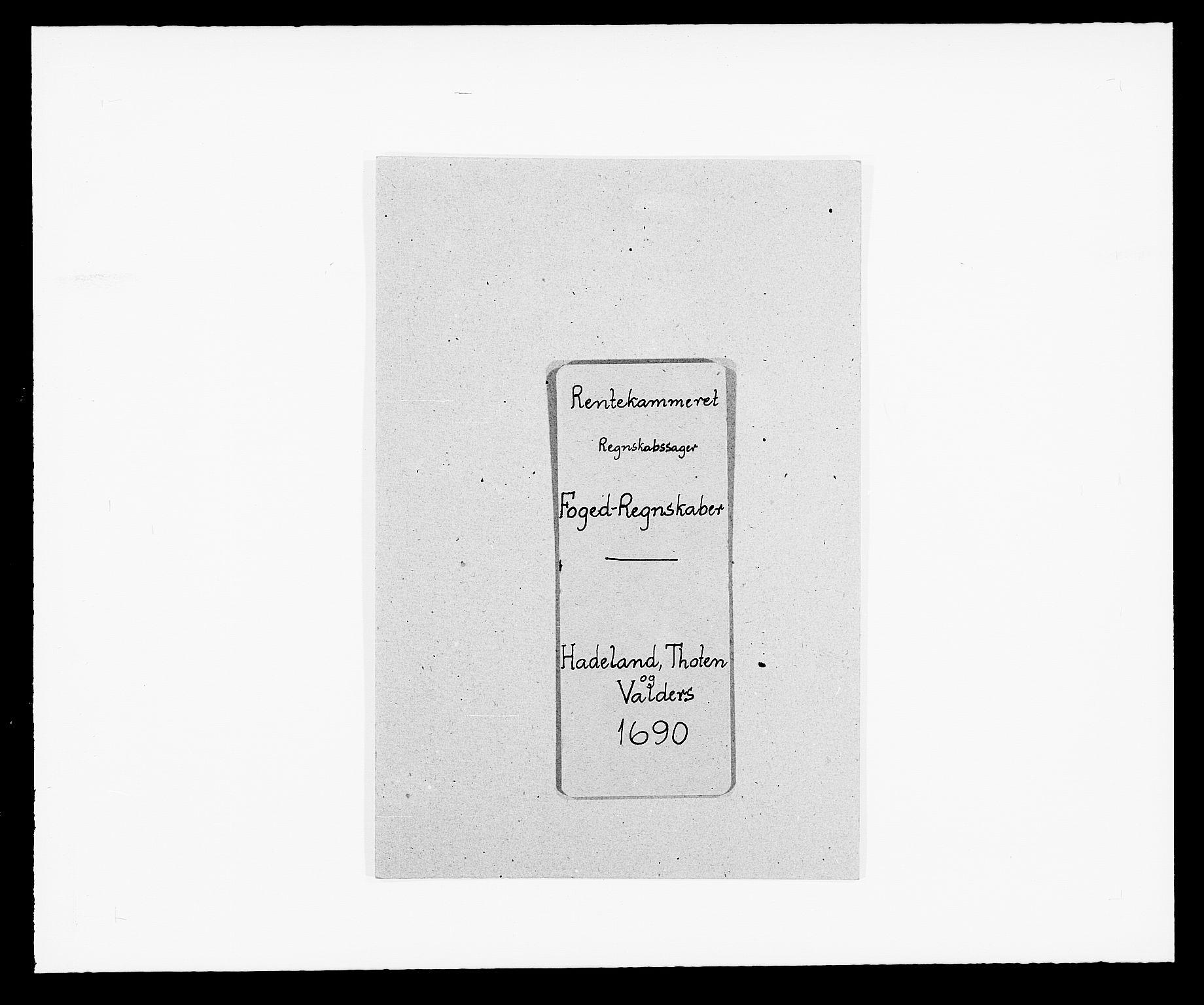 RA, Rentekammeret inntil 1814, Reviderte regnskaper, Fogderegnskap, R18/L1289: Fogderegnskap Hadeland, Toten og Valdres, 1690, s. 1