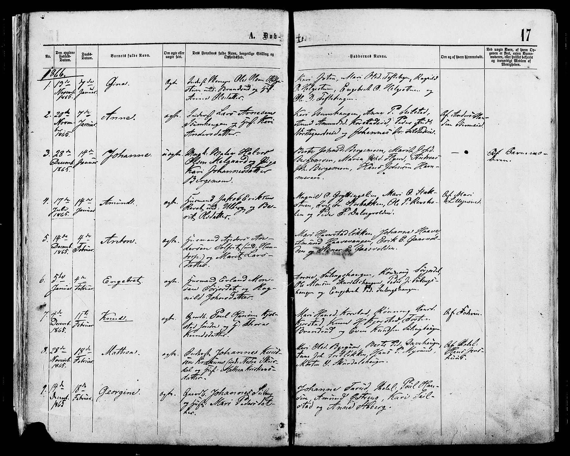 SAH, Sør-Fron prestekontor, H/Ha/Haa/L0002: Ministerialbok nr. 2, 1864-1880, s. 17