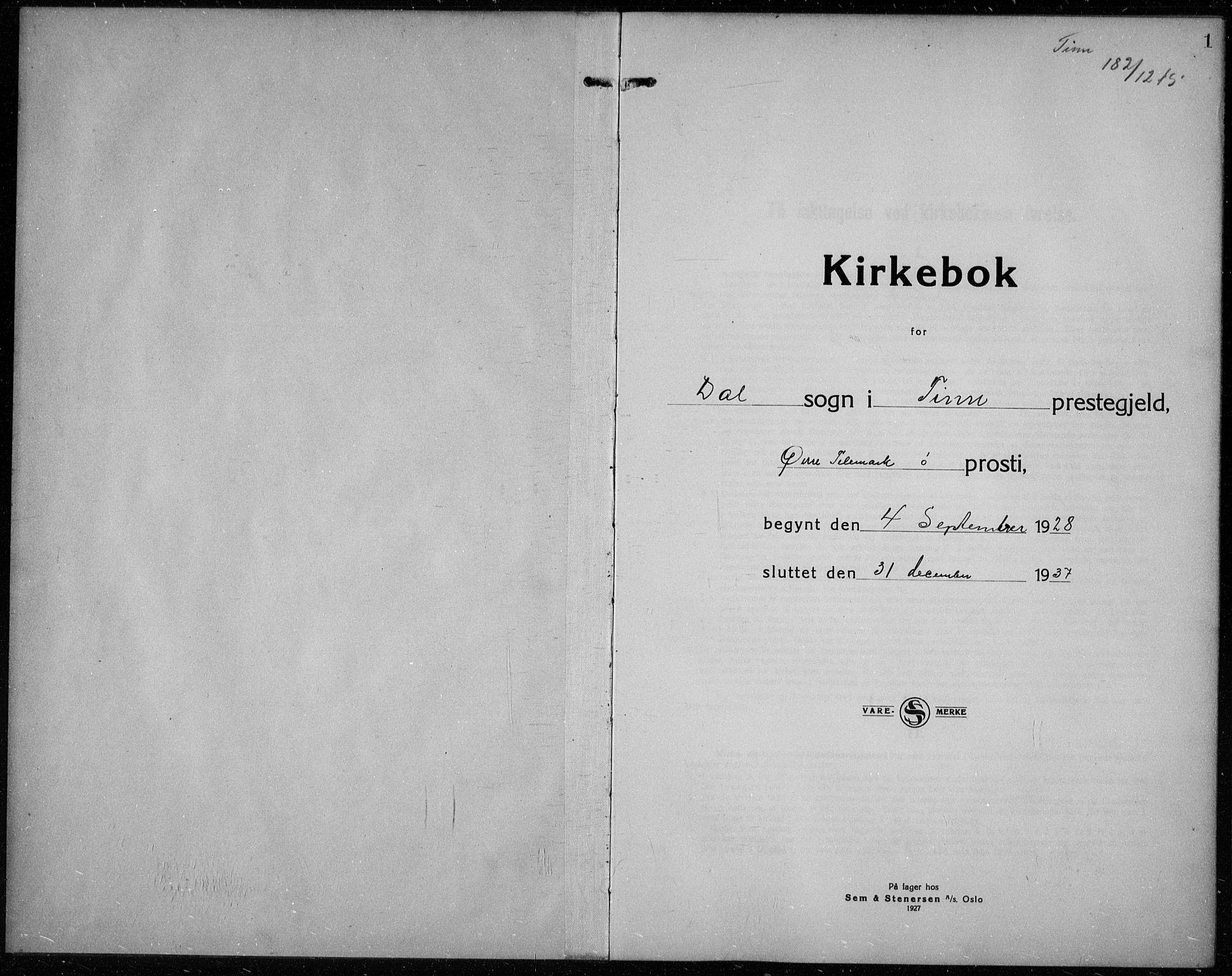 SAKO, Rjukan kirkebøker, G/Ga/L0005: Klokkerbok nr. 5, 1928-1937, s. 1