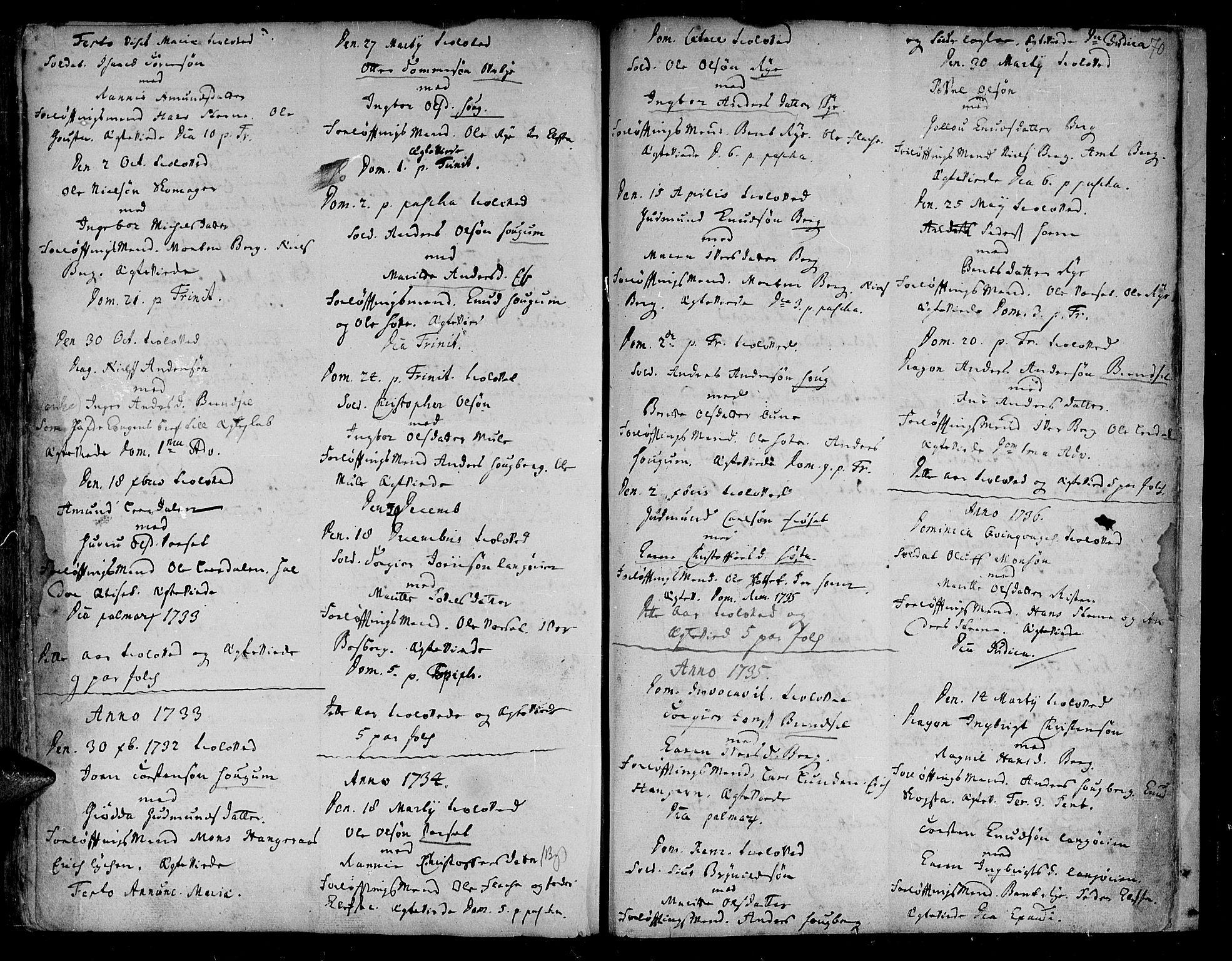 SAT, Ministerialprotokoller, klokkerbøker og fødselsregistre - Sør-Trøndelag, 612/L0368: Ministerialbok nr. 612A02, 1702-1753, s. 70
