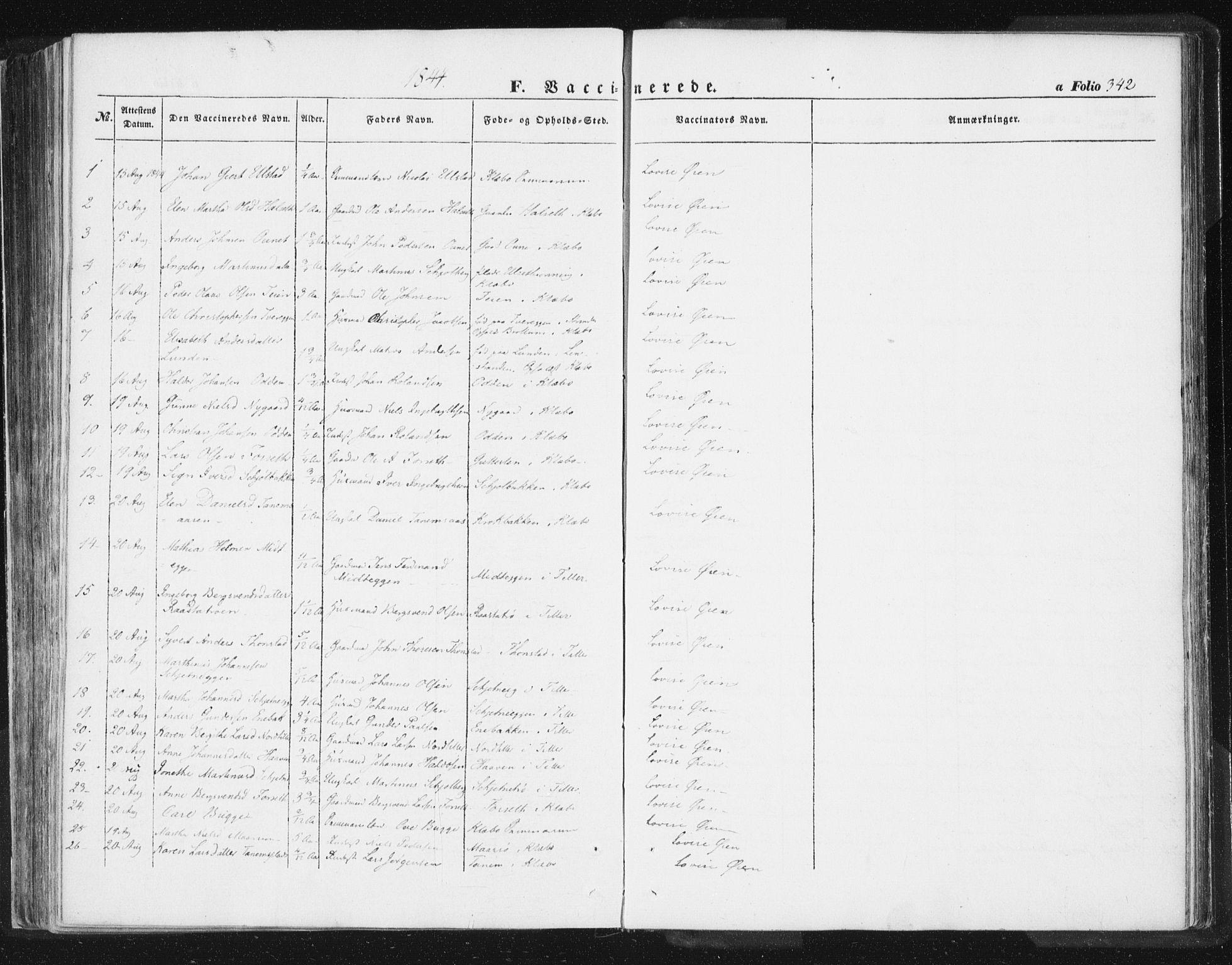 SAT, Ministerialprotokoller, klokkerbøker og fødselsregistre - Sør-Trøndelag, 618/L0441: Ministerialbok nr. 618A05, 1843-1862, s. 342