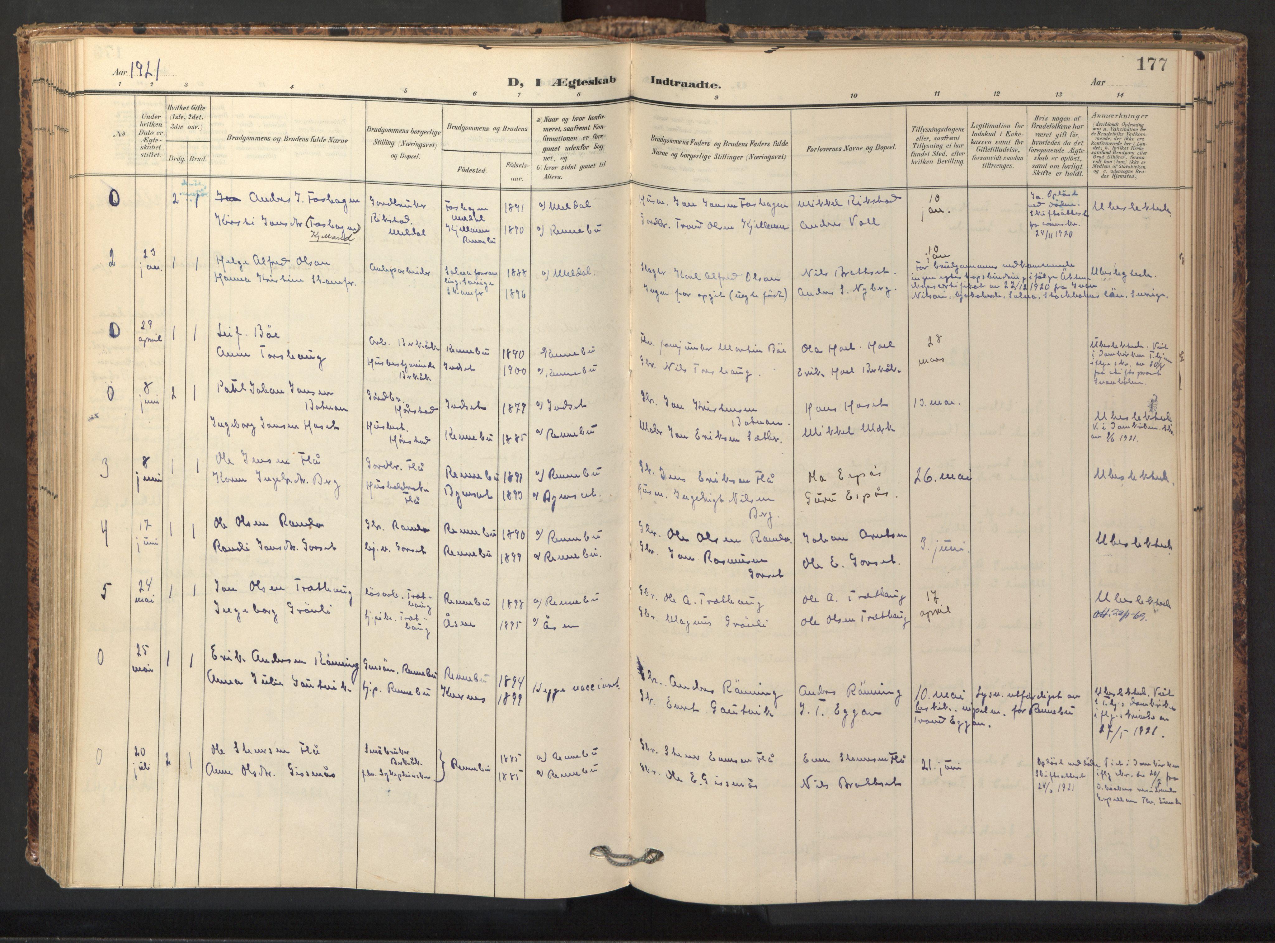 SAT, Ministerialprotokoller, klokkerbøker og fødselsregistre - Sør-Trøndelag, 674/L0873: Ministerialbok nr. 674A05, 1908-1923, s. 177