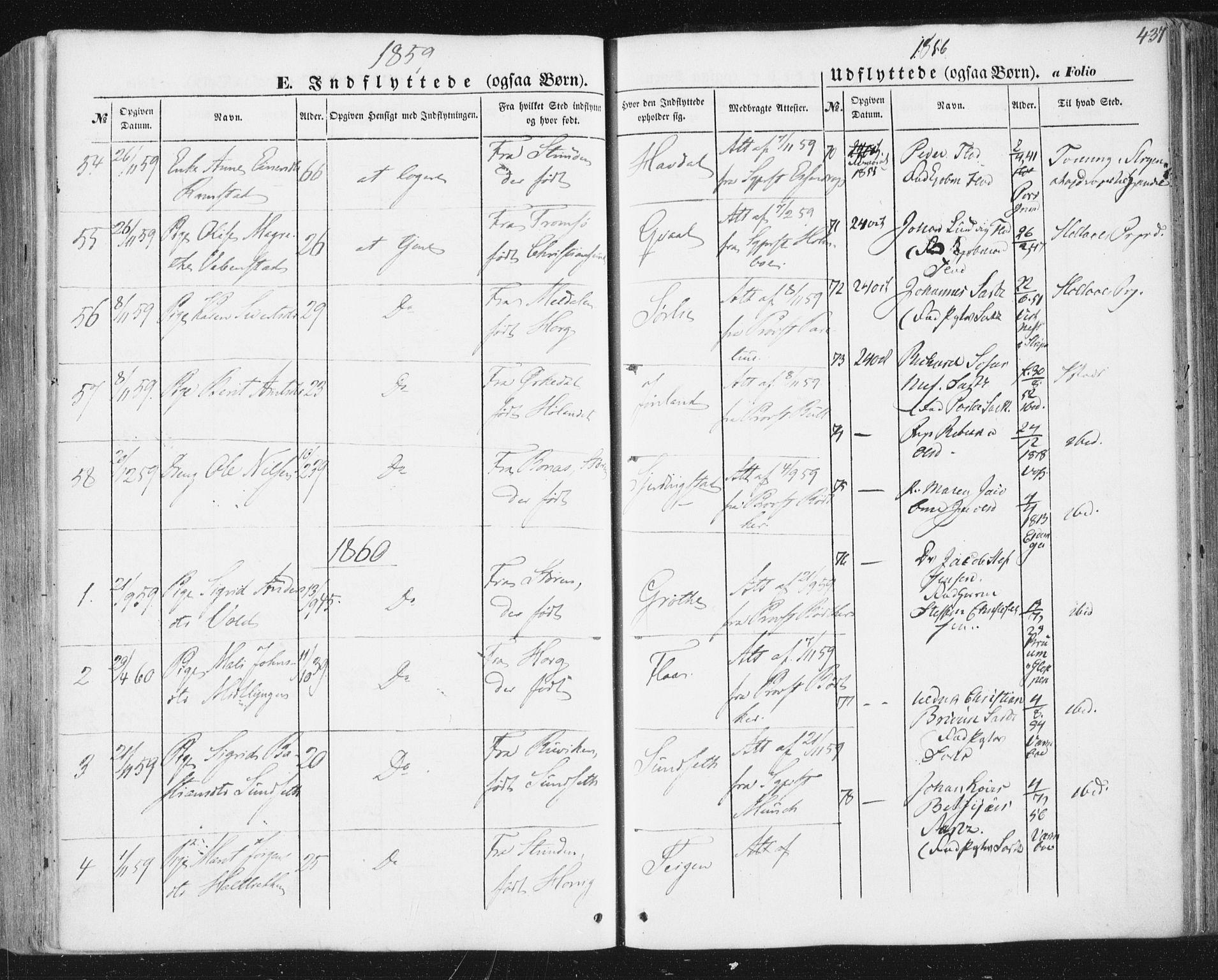 SAT, Ministerialprotokoller, klokkerbøker og fødselsregistre - Sør-Trøndelag, 691/L1076: Ministerialbok nr. 691A08, 1852-1861, s. 437