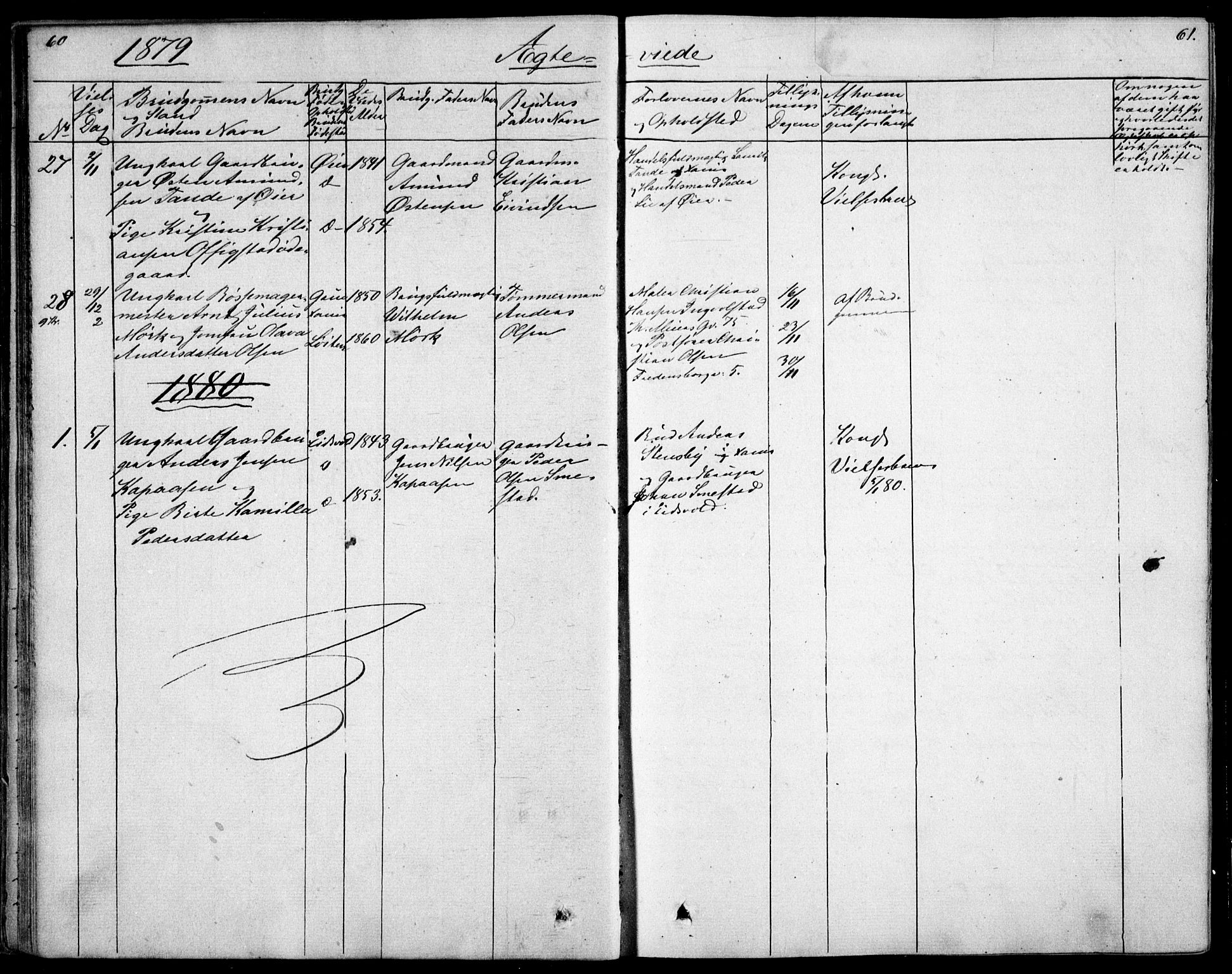 SAO, Garnisonsmenigheten Kirkebøker, F/Fa/L0007: Ministerialbok nr. 7, 1828-1881, s. 61