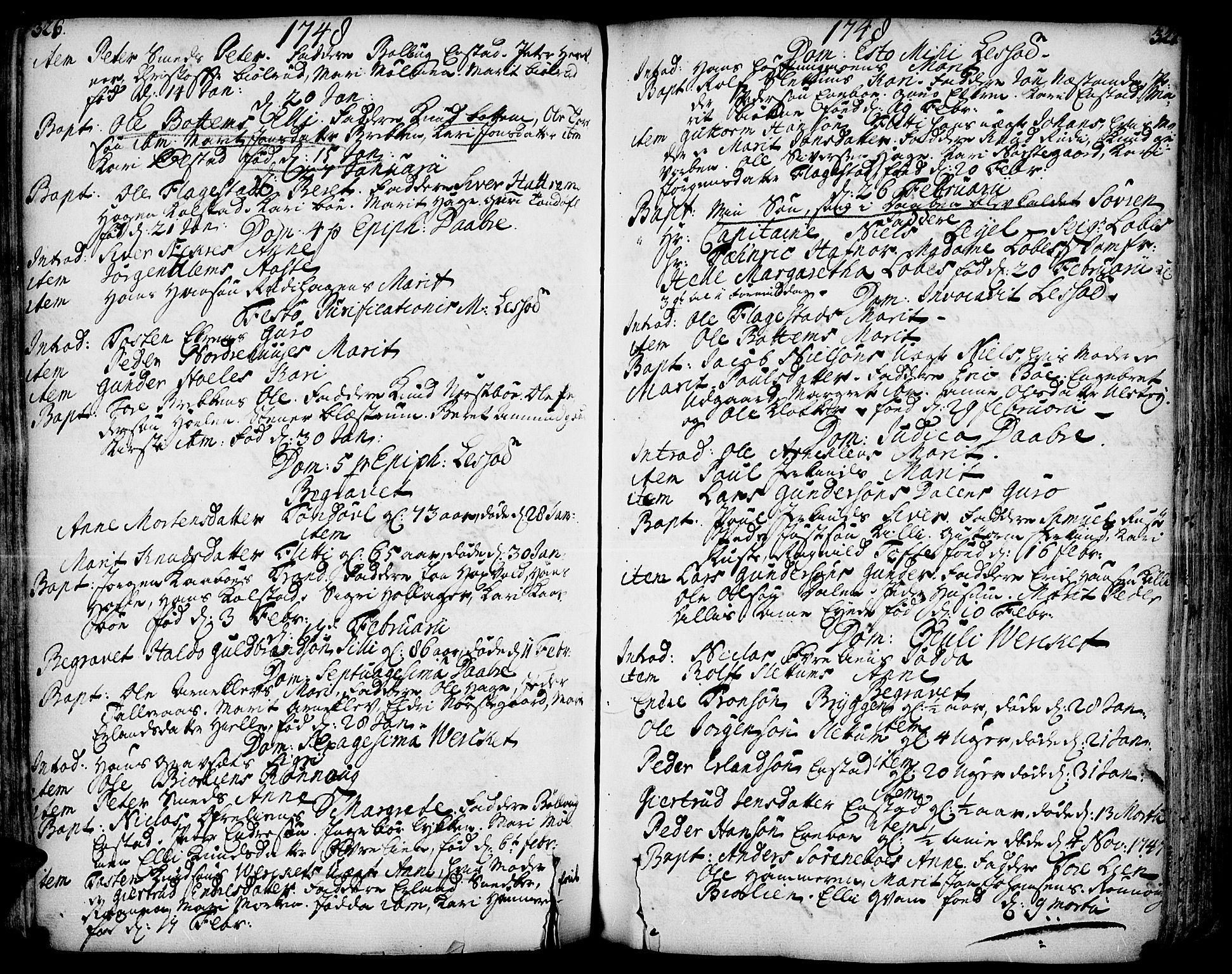 SAH, Lesja prestekontor, Ministerialbok nr. 2, 1732-1776, s. 326-327