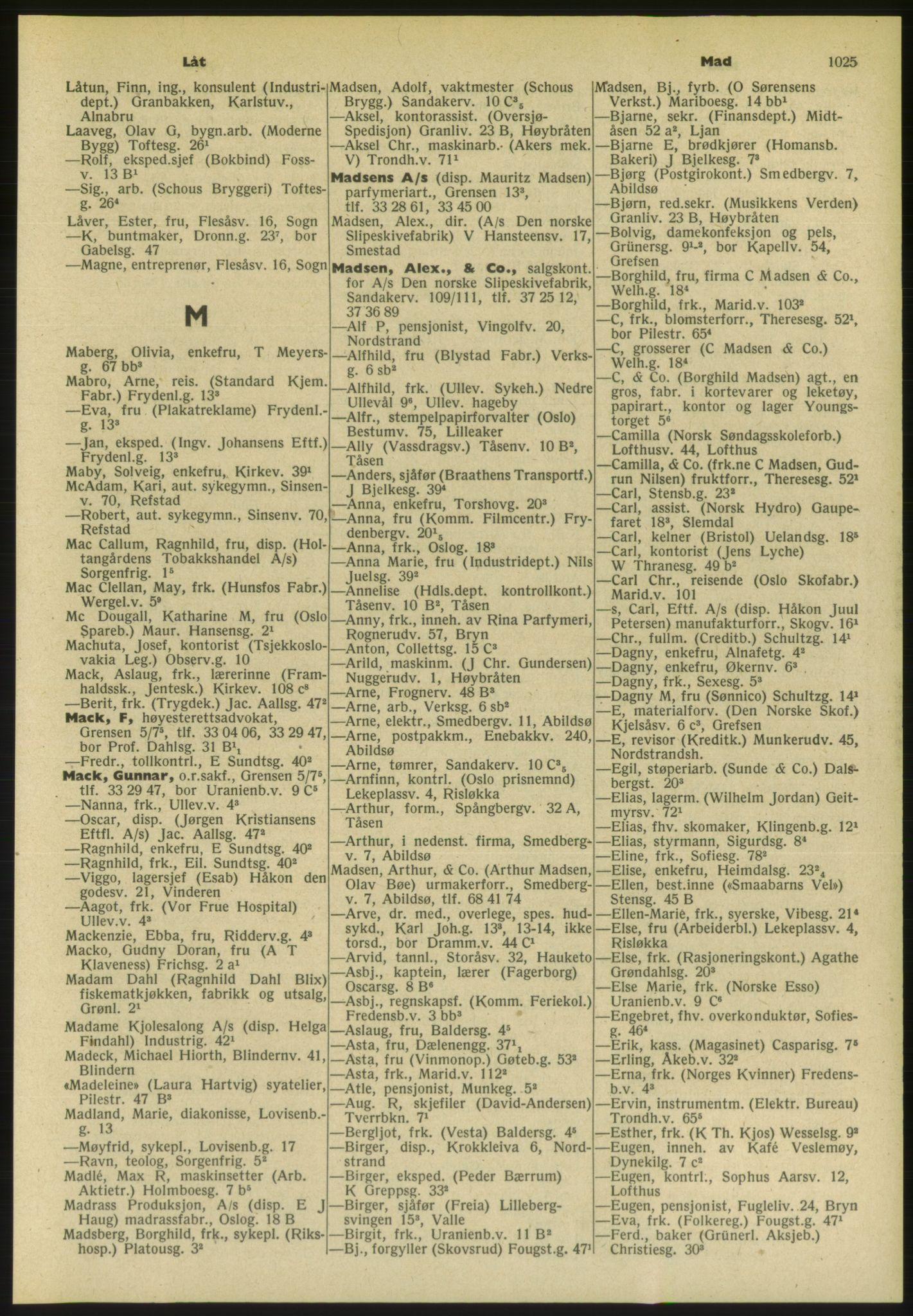 PUBL, Kristiania/Oslo adressebok, 1954, s. 1025