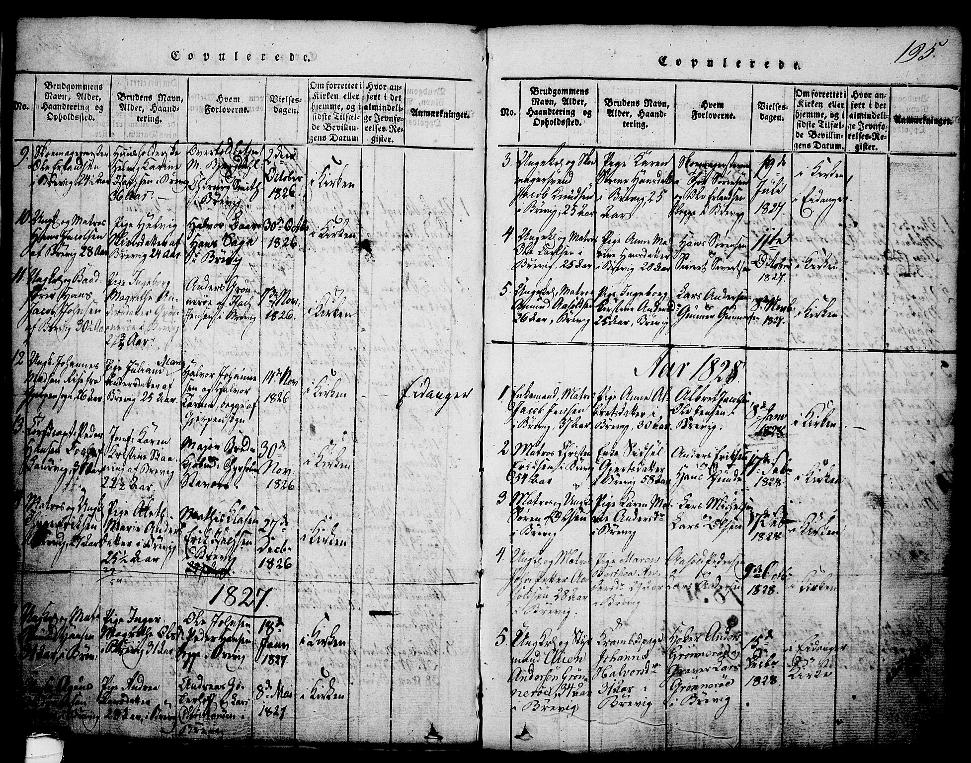 SAKO, Brevik kirkebøker, G/Ga/L0001: Klokkerbok nr. 1, 1814-1845, s. 195