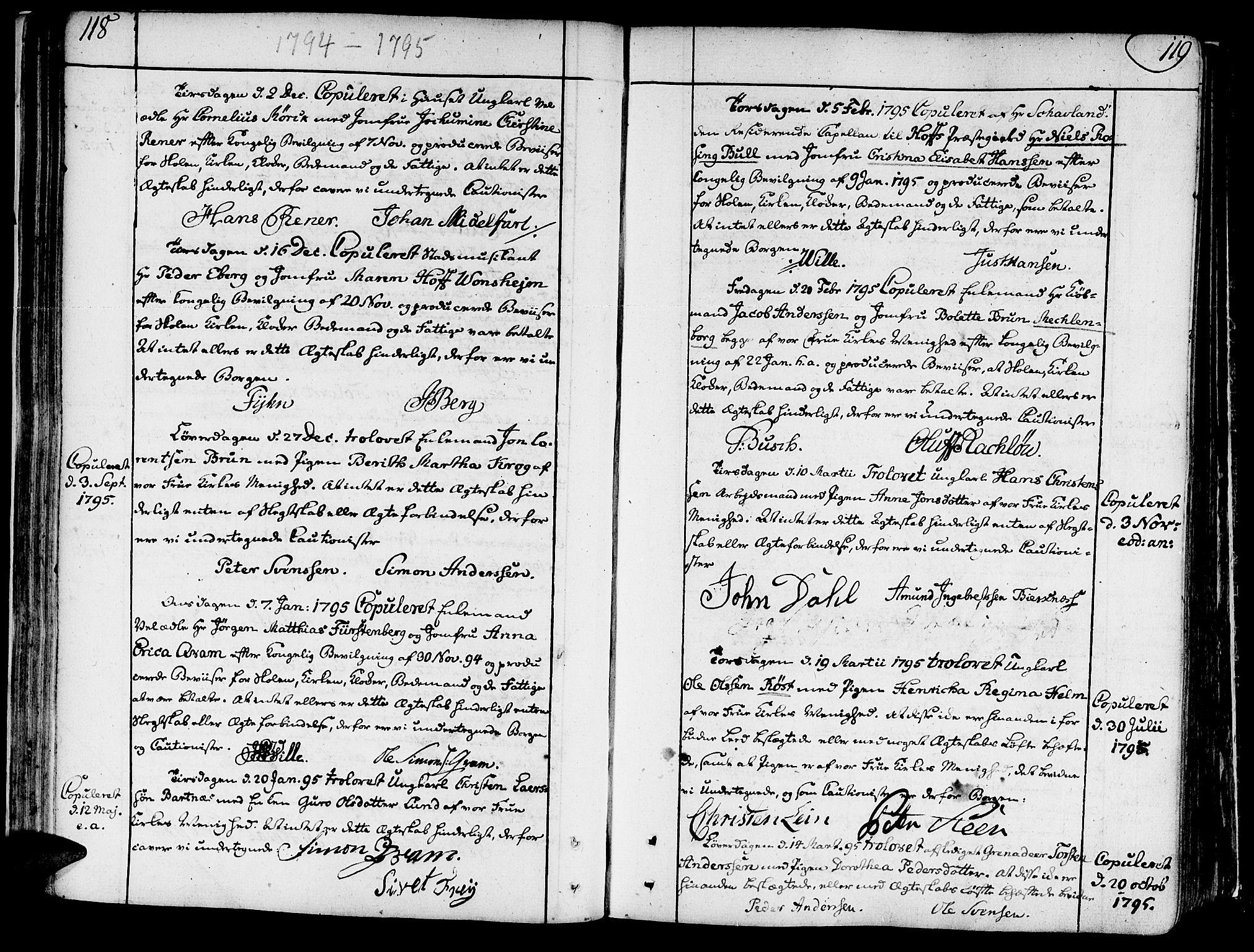 SAT, Ministerialprotokoller, klokkerbøker og fødselsregistre - Sør-Trøndelag, 602/L0105: Ministerialbok nr. 602A03, 1774-1814, s. 118-119