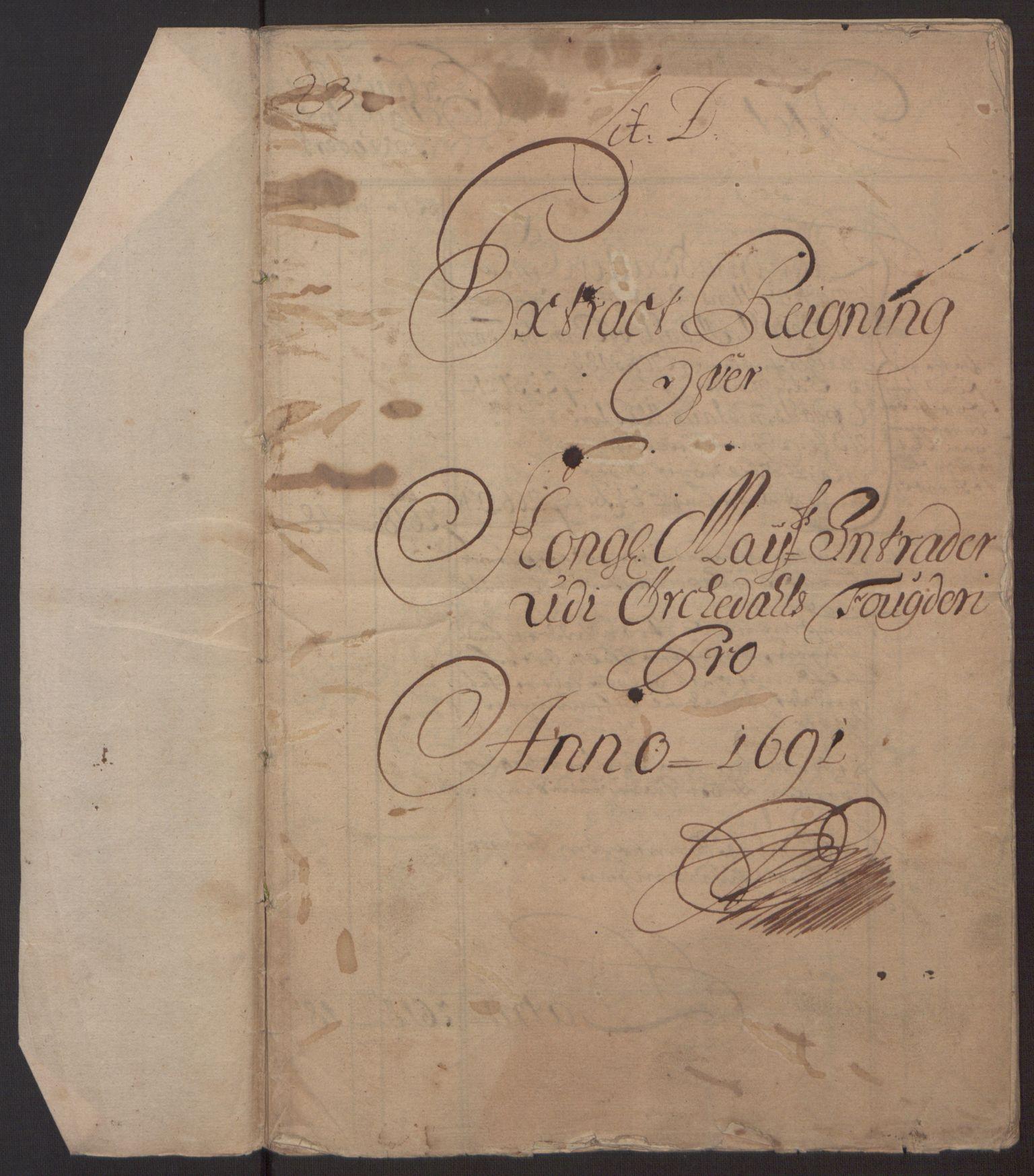 RA, Rentekammeret inntil 1814, Reviderte regnskaper, Fogderegnskap, R58/L3937: Fogderegnskap Orkdal, 1691-1692, s. 6