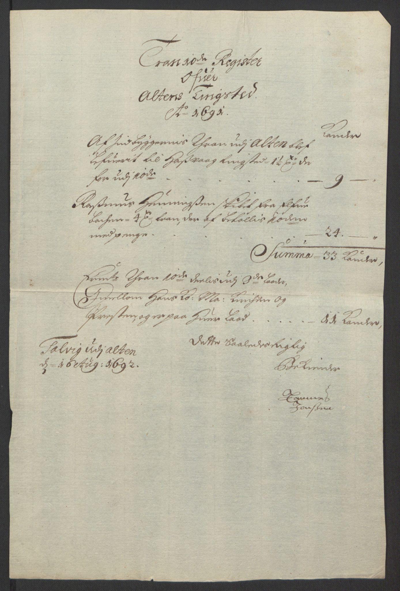 RA, Rentekammeret inntil 1814, Reviderte regnskaper, Fogderegnskap, R69/L4851: Fogderegnskap Finnmark/Vardøhus, 1691-1700, s. 73