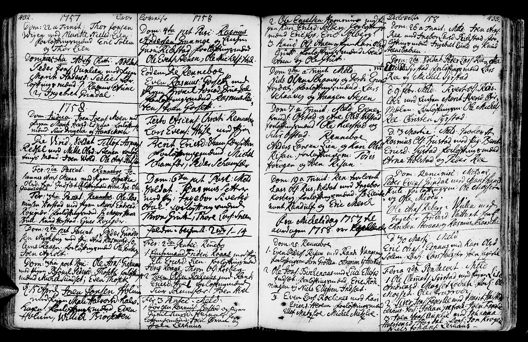 SAT, Ministerialprotokoller, klokkerbøker og fødselsregistre - Sør-Trøndelag, 672/L0851: Ministerialbok nr. 672A04, 1751-1775, s. 432-433