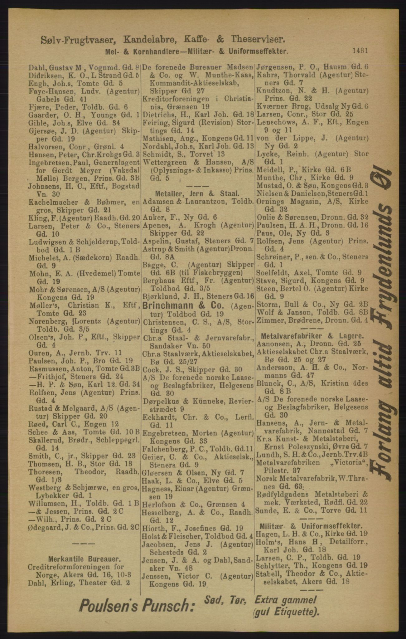RA, Kristiania adressebok (publikasjon)*, 1906, s. 1431