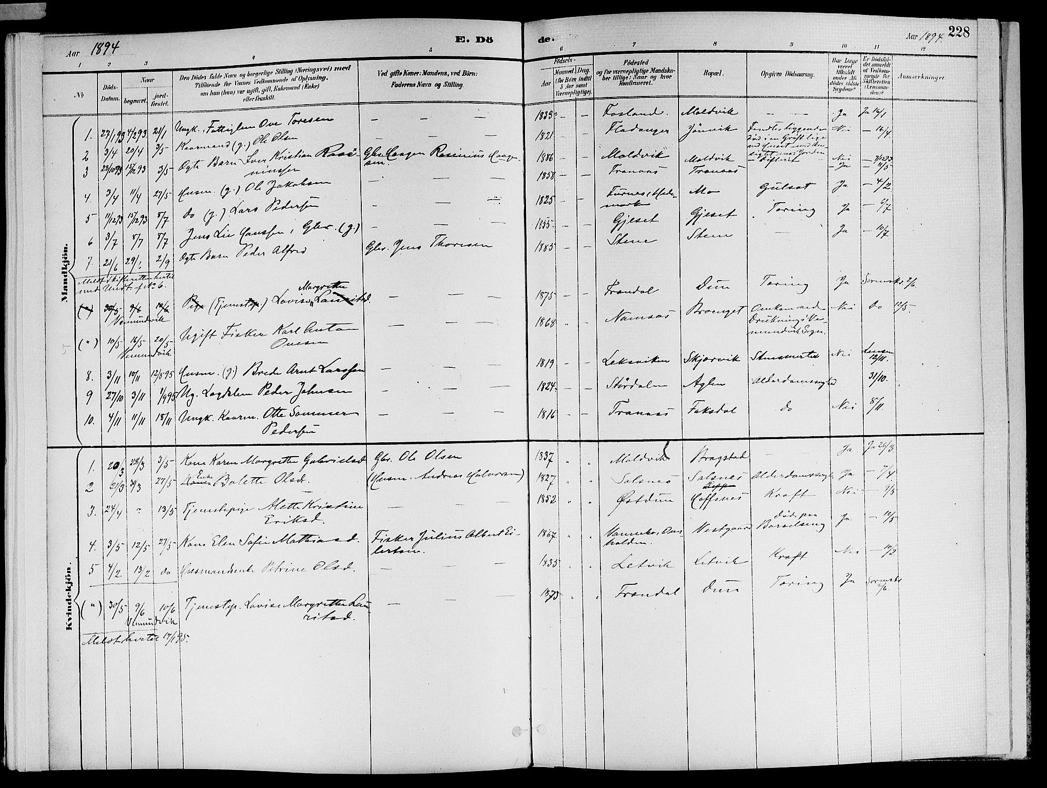 SAT, Ministerialprotokoller, klokkerbøker og fødselsregistre - Nord-Trøndelag, 773/L0617: Ministerialbok nr. 773A08, 1887-1910, s. 228