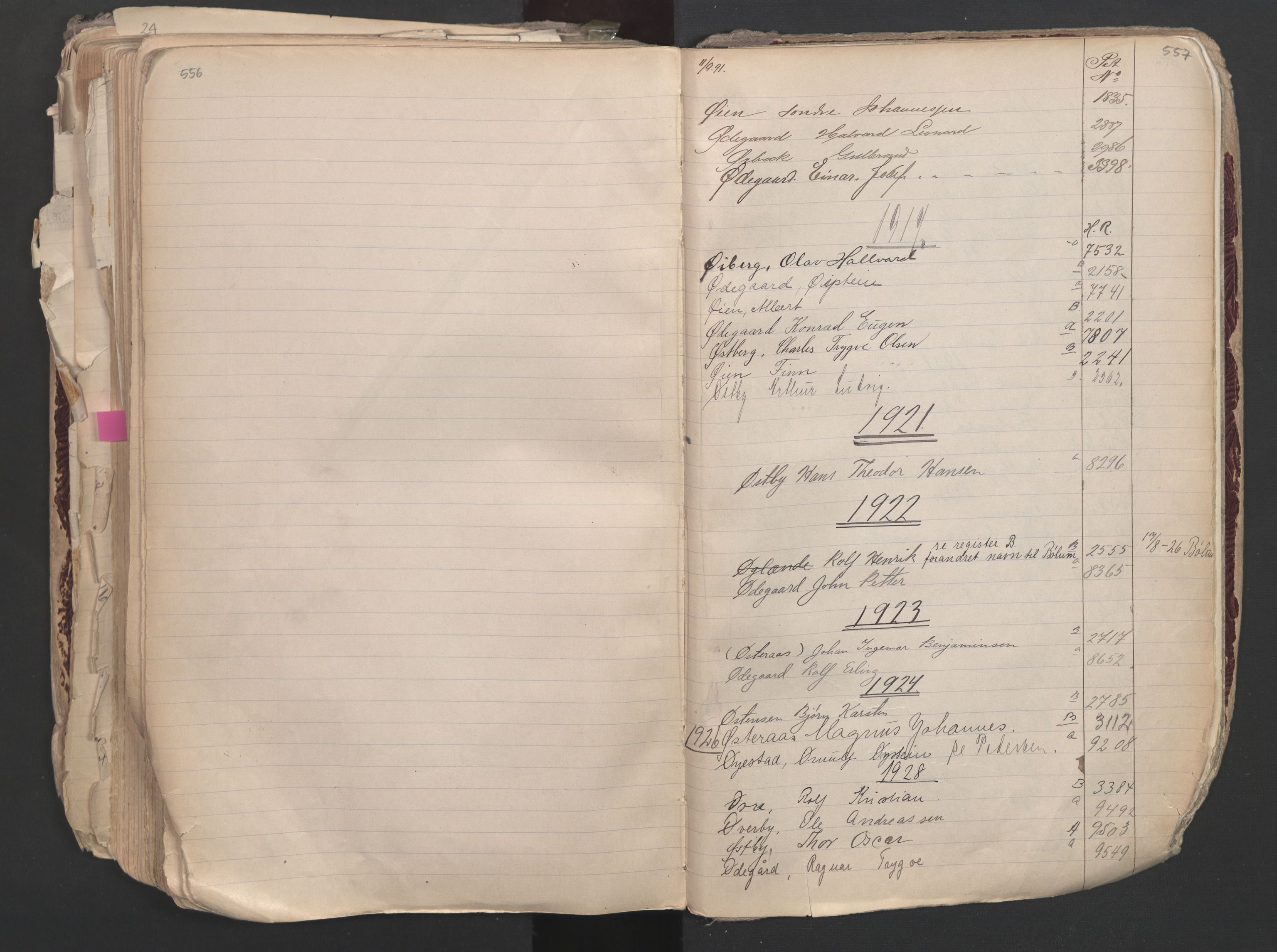 SAO, Oslo sjømannskontor, F/Fa/L0003: Register for Oslo mønstringskrets, 1891-1948, s. 556-557