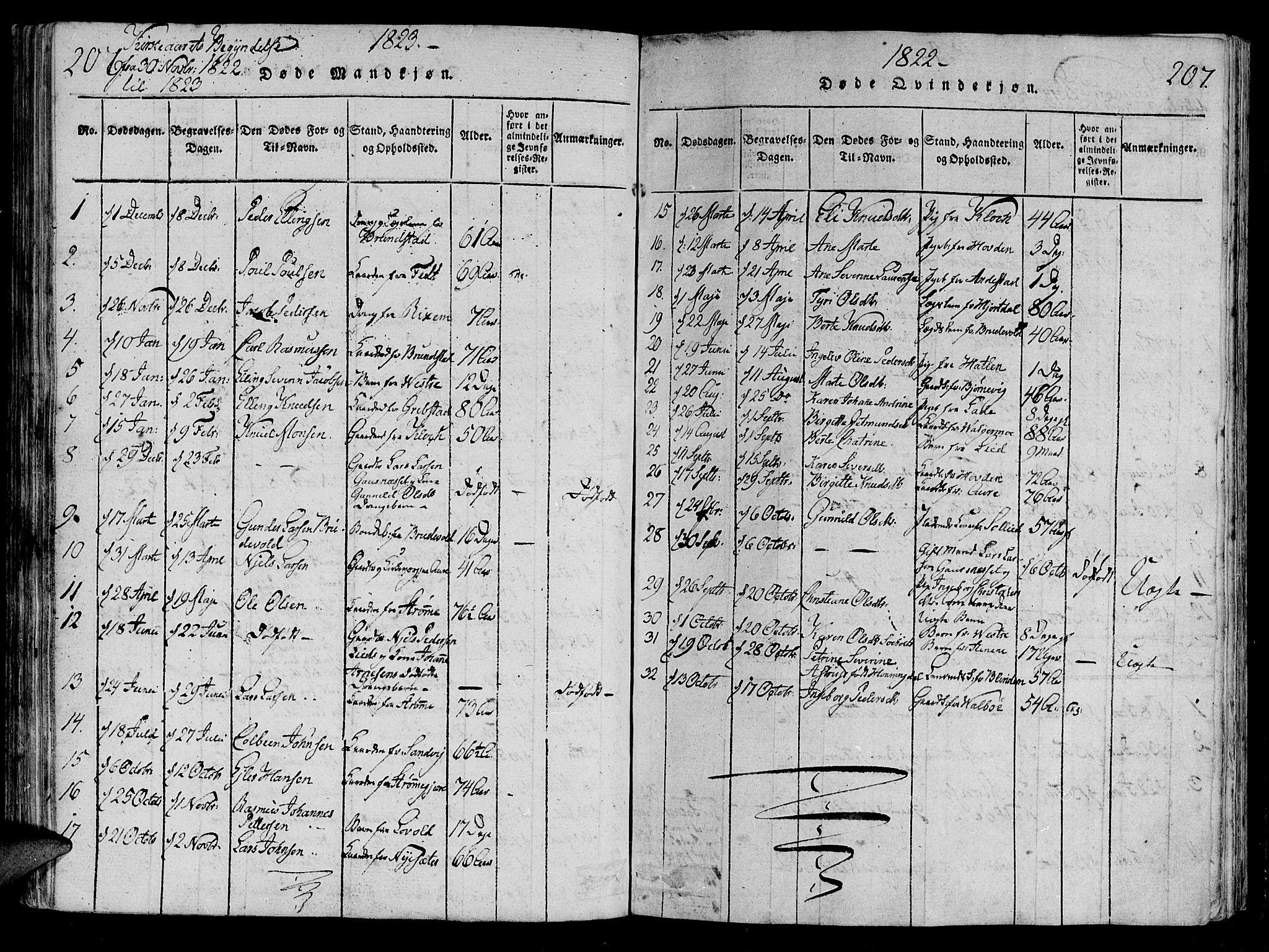 SAT, Ministerialprotokoller, klokkerbøker og fødselsregistre - Møre og Romsdal, 522/L0310: Ministerialbok nr. 522A05, 1816-1832, s. 206-207