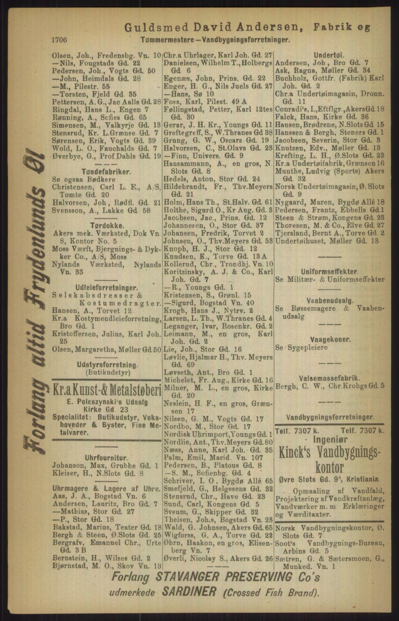 RA, Kristiania adressebok (publikasjon)*, 1911, s. 1706