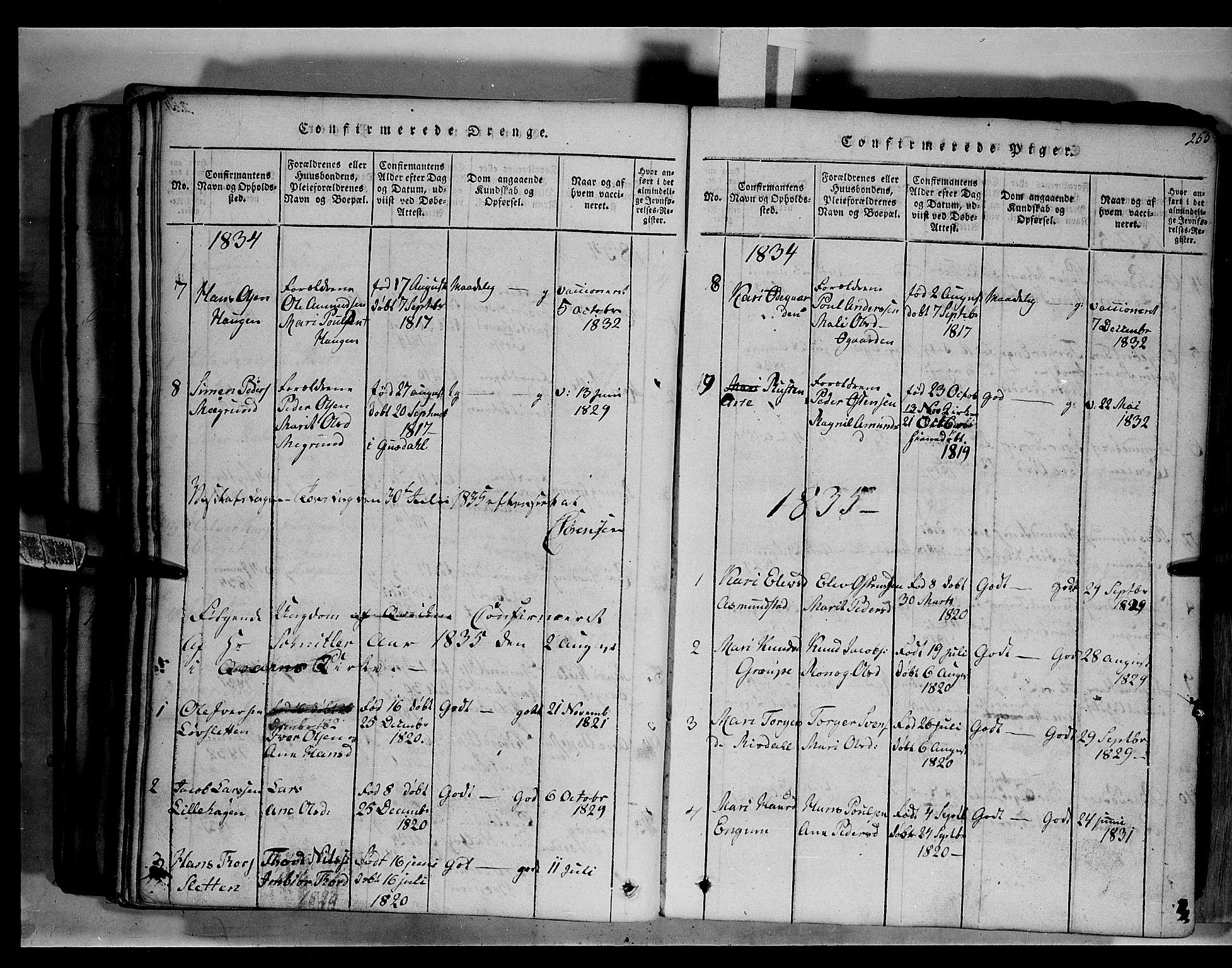 SAH, Fron prestekontor, H/Ha/Hab/L0003: Klokkerbok nr. 3, 1816-1850, s. 255