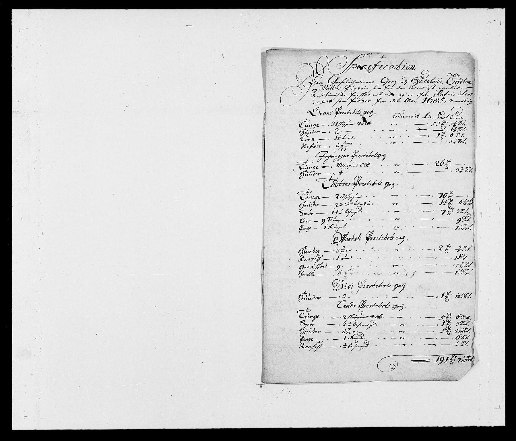 RA, Rentekammeret inntil 1814, Reviderte regnskaper, Fogderegnskap, R18/L1284: Fogderegnskap Hadeland, Toten og Valdres, 1685, s. 207