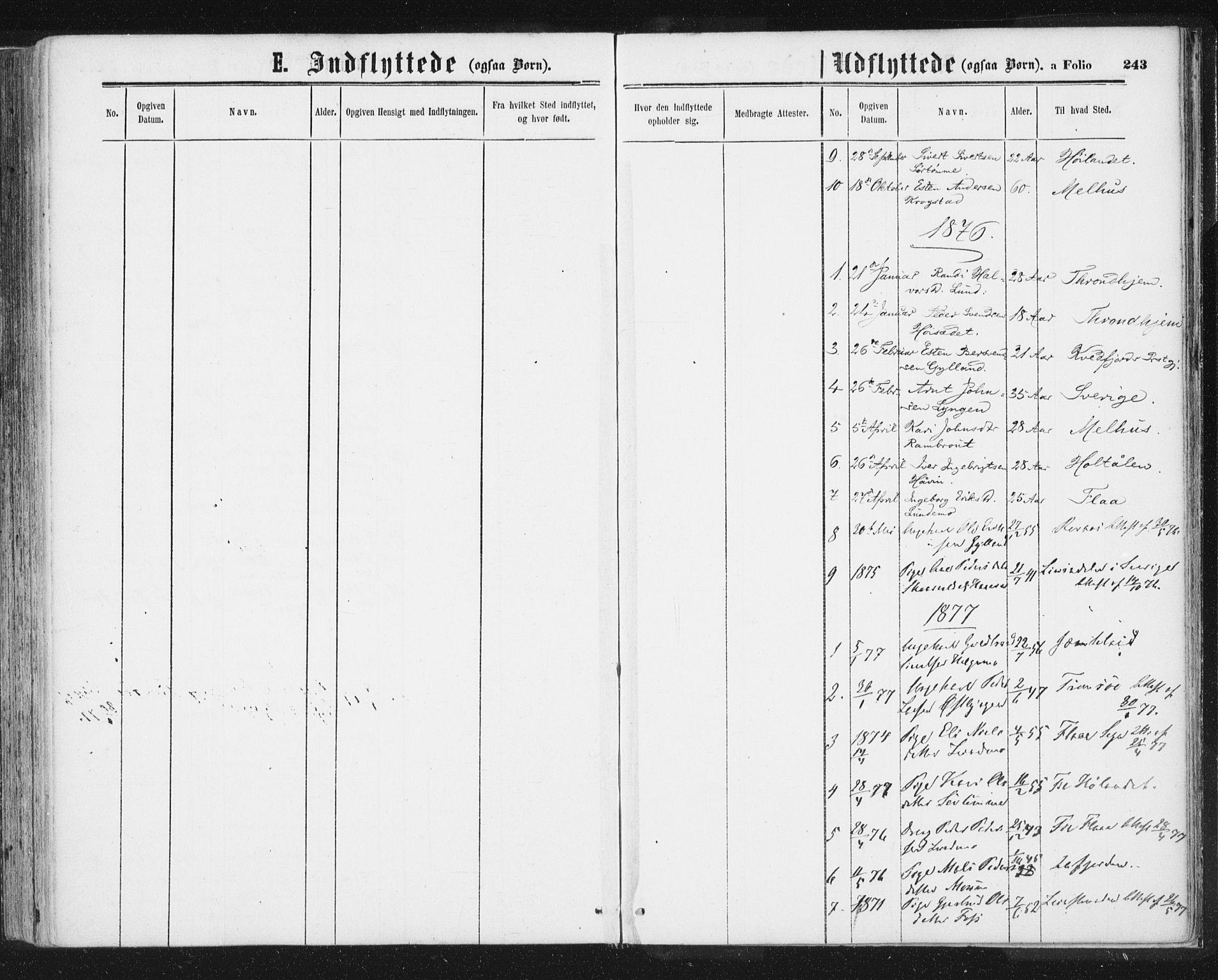 SAT, Ministerialprotokoller, klokkerbøker og fødselsregistre - Sør-Trøndelag, 692/L1104: Ministerialbok nr. 692A04, 1862-1878, s. 243