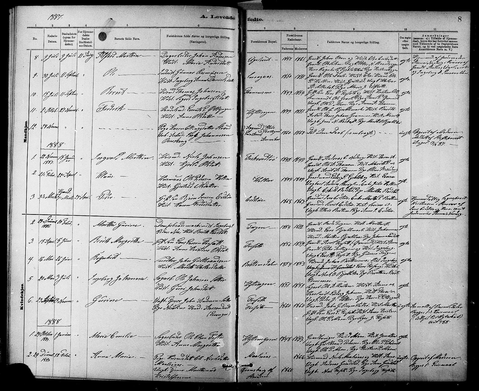 SAT, Ministerialprotokoller, klokkerbøker og fødselsregistre - Sør-Trøndelag, 618/L0452: Klokkerbok nr. 618C03, 1884-1906, s. 8