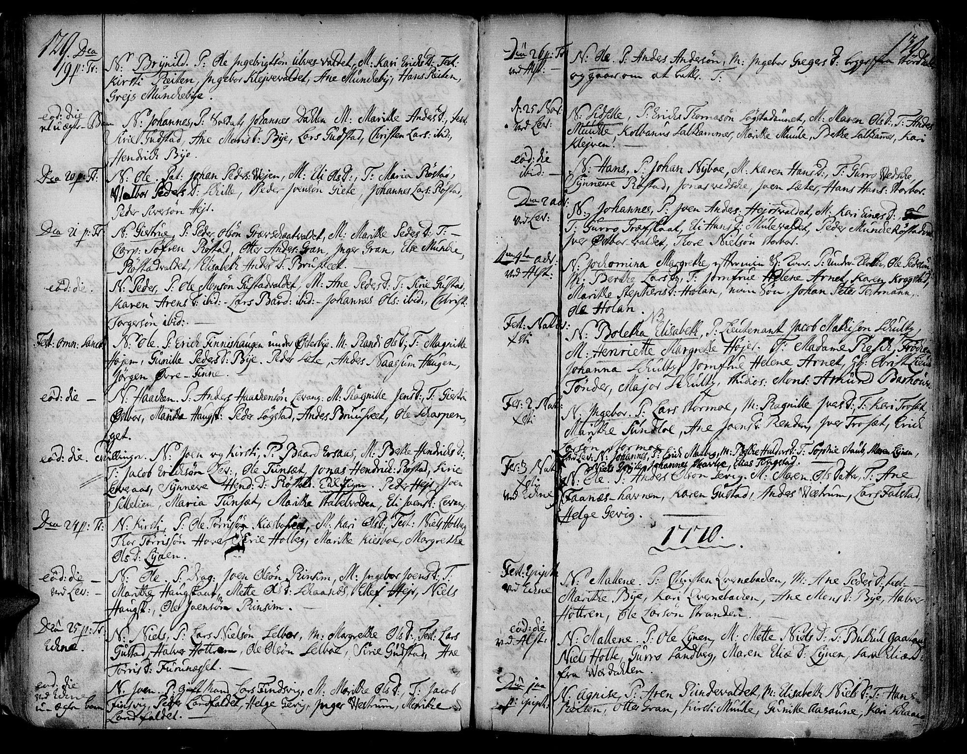 SAT, Ministerialprotokoller, klokkerbøker og fødselsregistre - Nord-Trøndelag, 717/L0141: Ministerialbok nr. 717A01, 1747-1803, s. 129-130