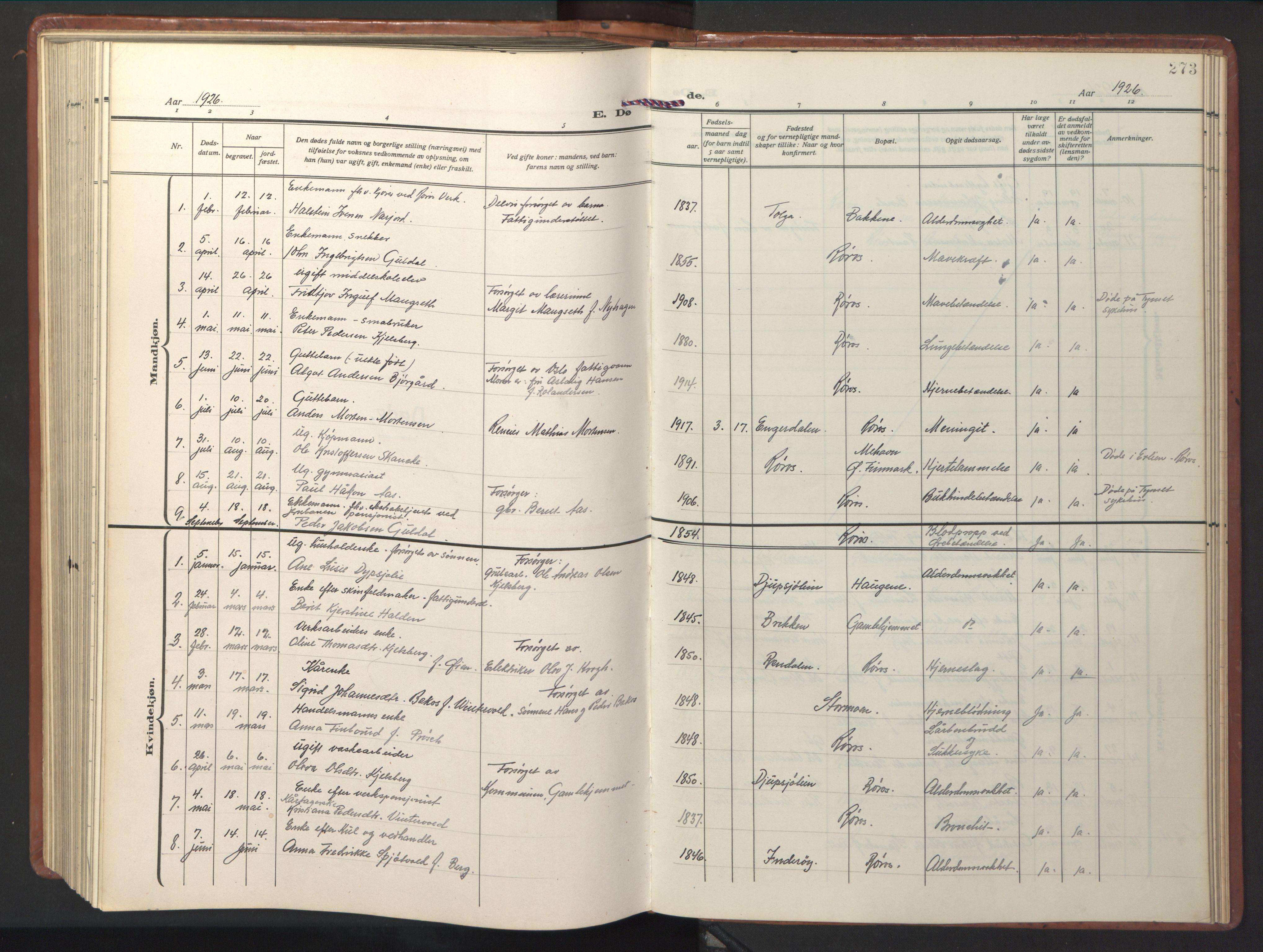 SAT, Ministerialprotokoller, klokkerbøker og fødselsregistre - Sør-Trøndelag, 681/L0943: Klokkerbok nr. 681C07, 1926-1954, s. 273