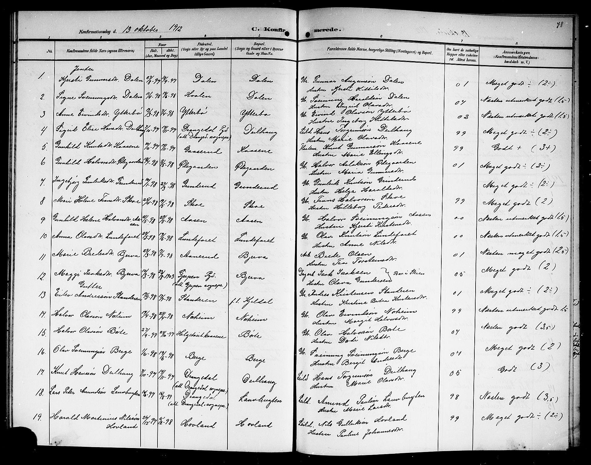 SAKO, Lunde kirkebøker, G/Ga/L0004: Klokkerbok nr. I 4, 1906-1914, s. 78