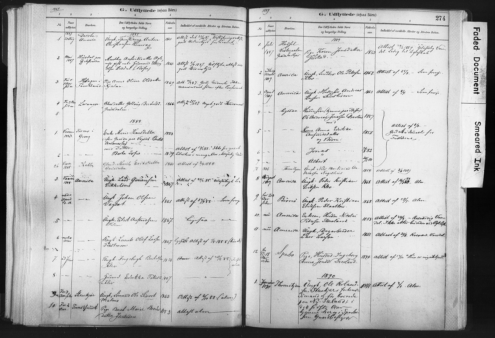 SAT, Ministerialprotokoller, klokkerbøker og fødselsregistre - Nord-Trøndelag, 749/L0474: Ministerialbok nr. 749A08, 1887-1903, s. 274