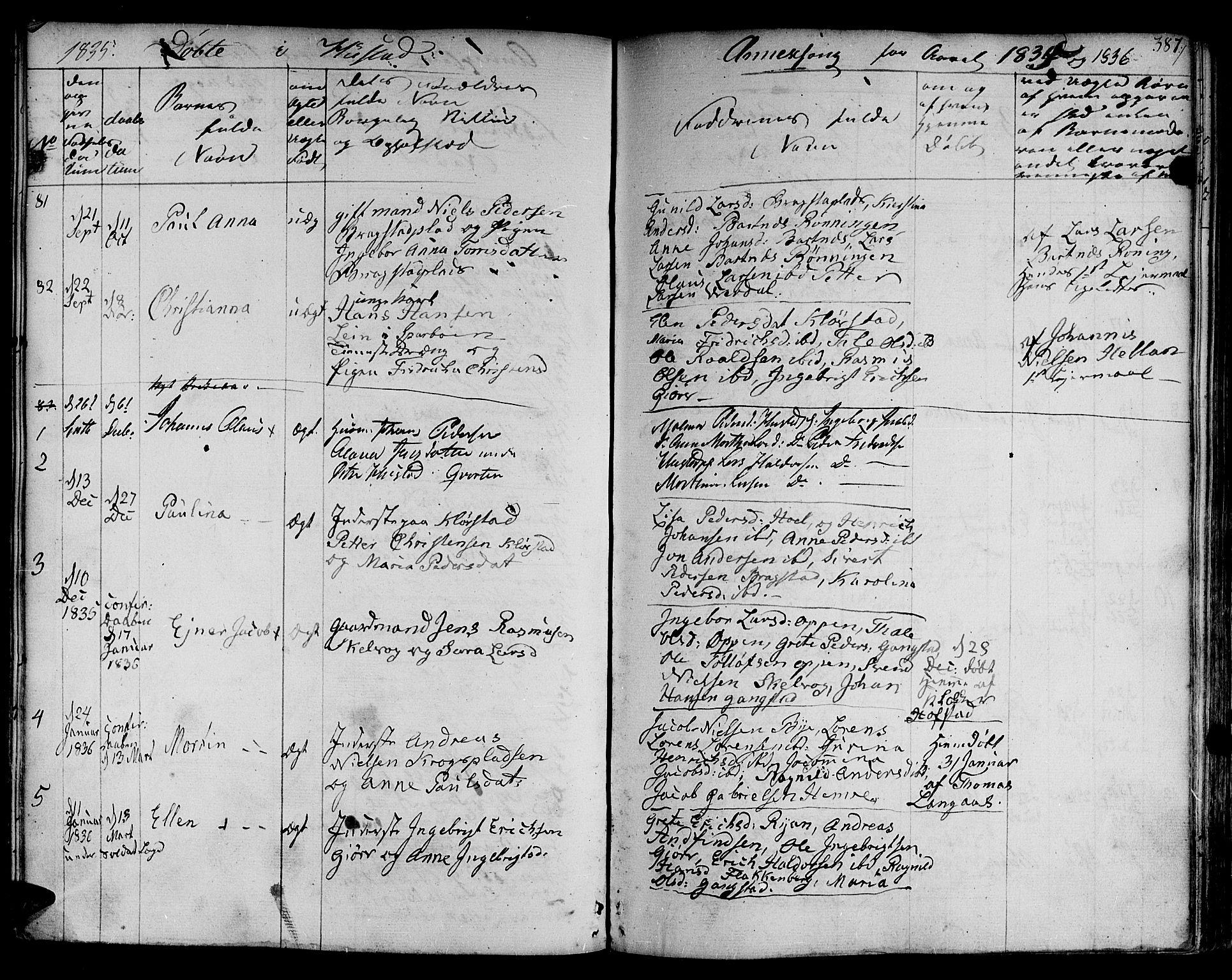 SAT, Ministerialprotokoller, klokkerbøker og fødselsregistre - Nord-Trøndelag, 730/L0277: Ministerialbok nr. 730A06 /3, 1830-1839, s. 387