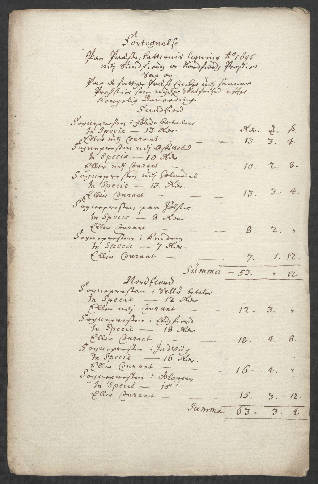 RA, Rentekammeret inntil 1814, Reviderte regnskaper, Fogderegnskap, R53/L3422: Fogderegnskap Sunn- og Nordfjord, 1695-1696, s. 72