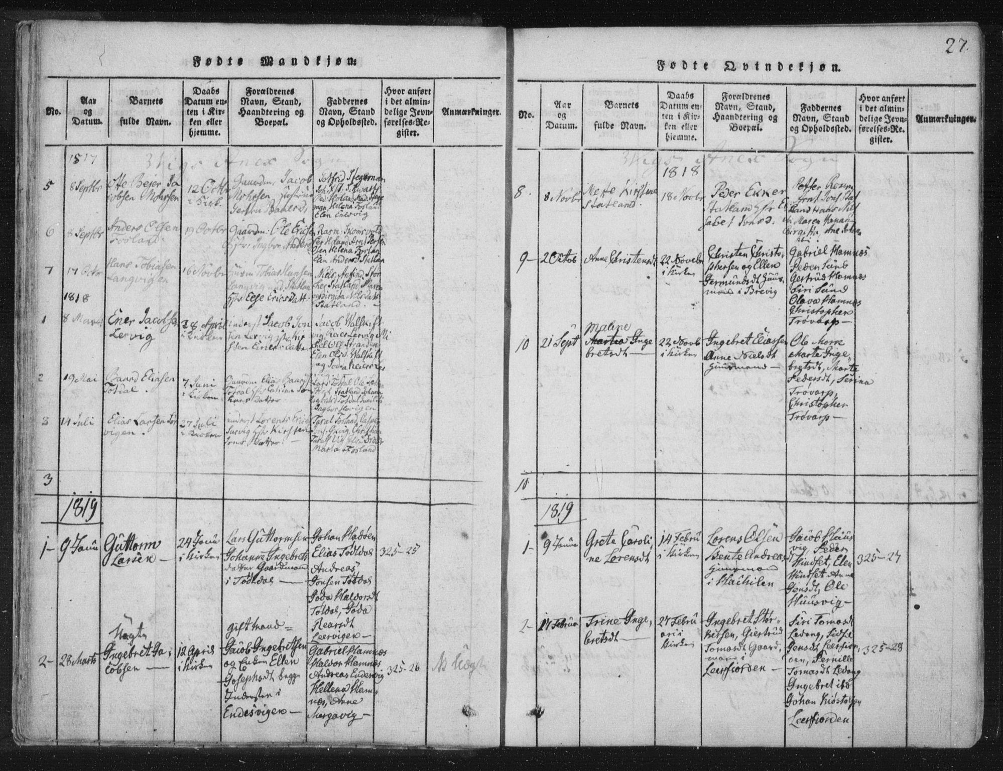 SAT, Ministerialprotokoller, klokkerbøker og fødselsregistre - Nord-Trøndelag, 773/L0609: Ministerialbok nr. 773A03 /2, 1815-1830, s. 27