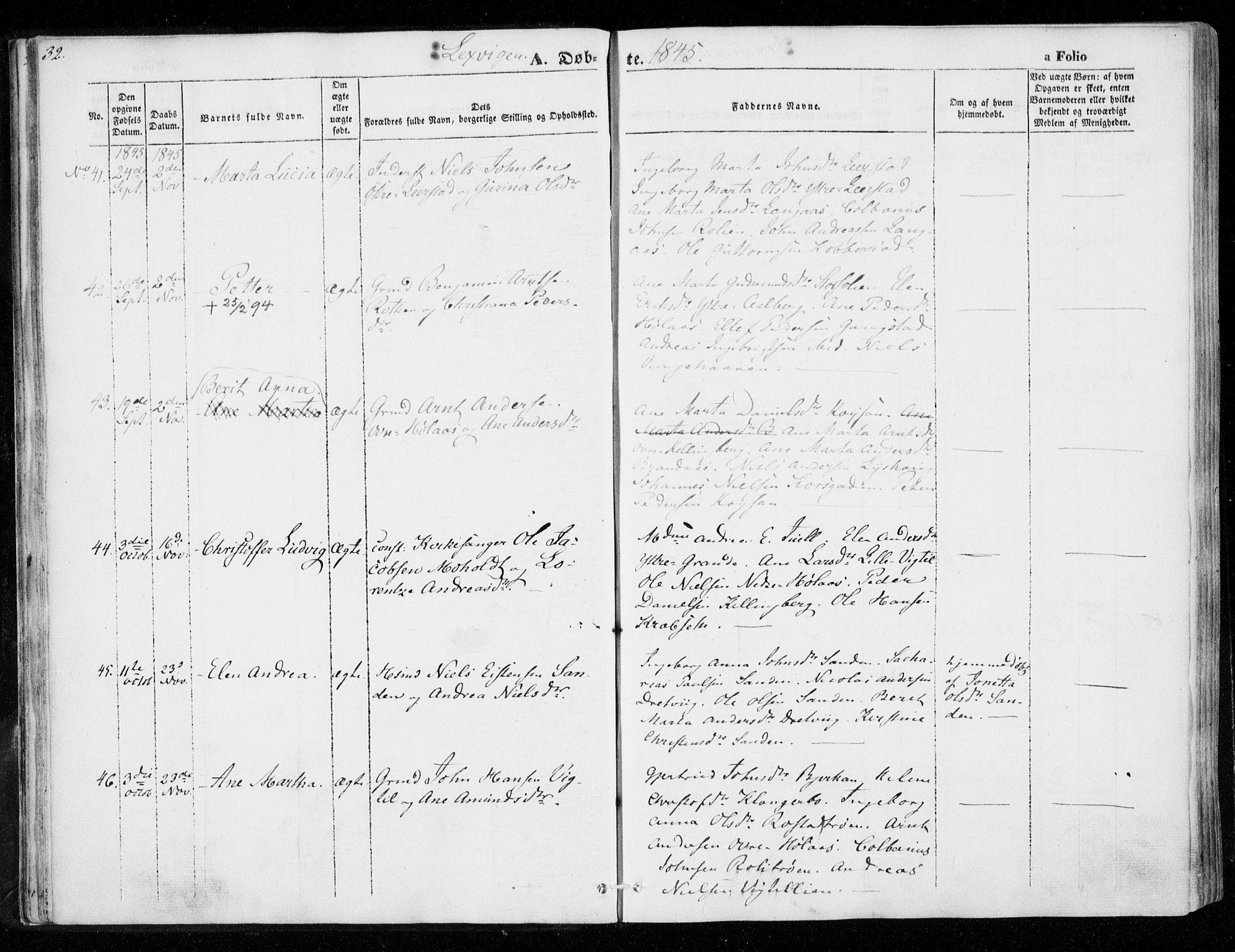 SAT, Ministerialprotokoller, klokkerbøker og fødselsregistre - Nord-Trøndelag, 701/L0007: Ministerialbok nr. 701A07 /1, 1842-1854, s. 32