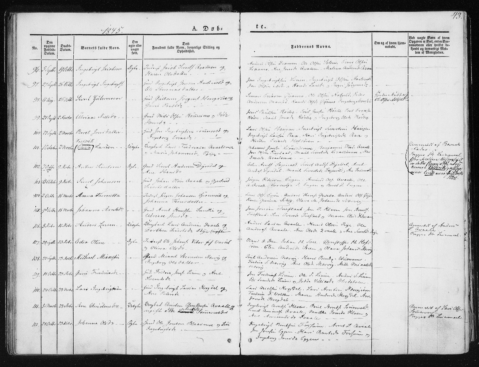 SAT, Ministerialprotokoller, klokkerbøker og fødselsregistre - Sør-Trøndelag, 668/L0805: Ministerialbok nr. 668A05, 1840-1853, s. 43
