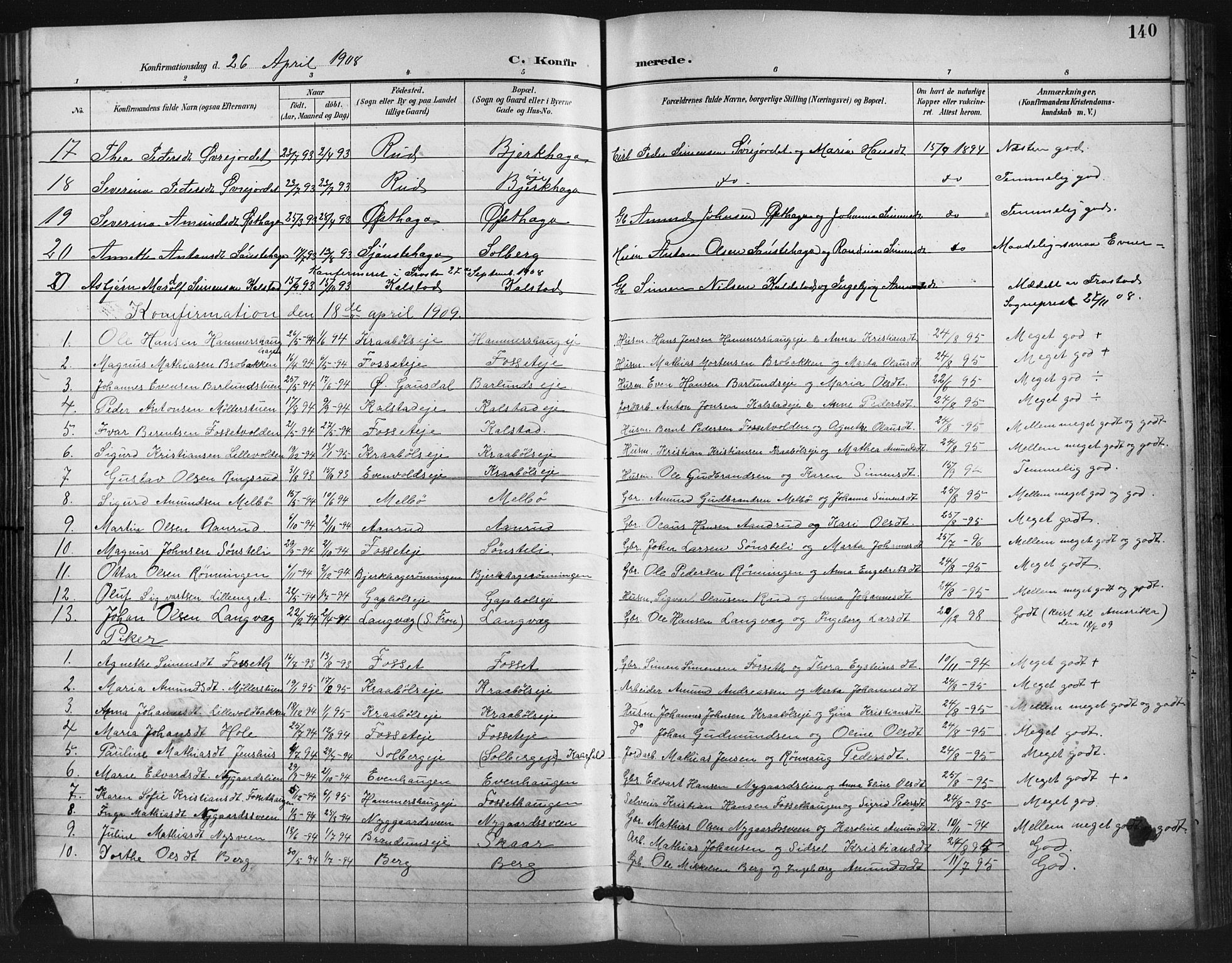 SAH, Vestre Gausdal prestekontor, Klokkerbok nr. 3, 1896-1925, s. 140