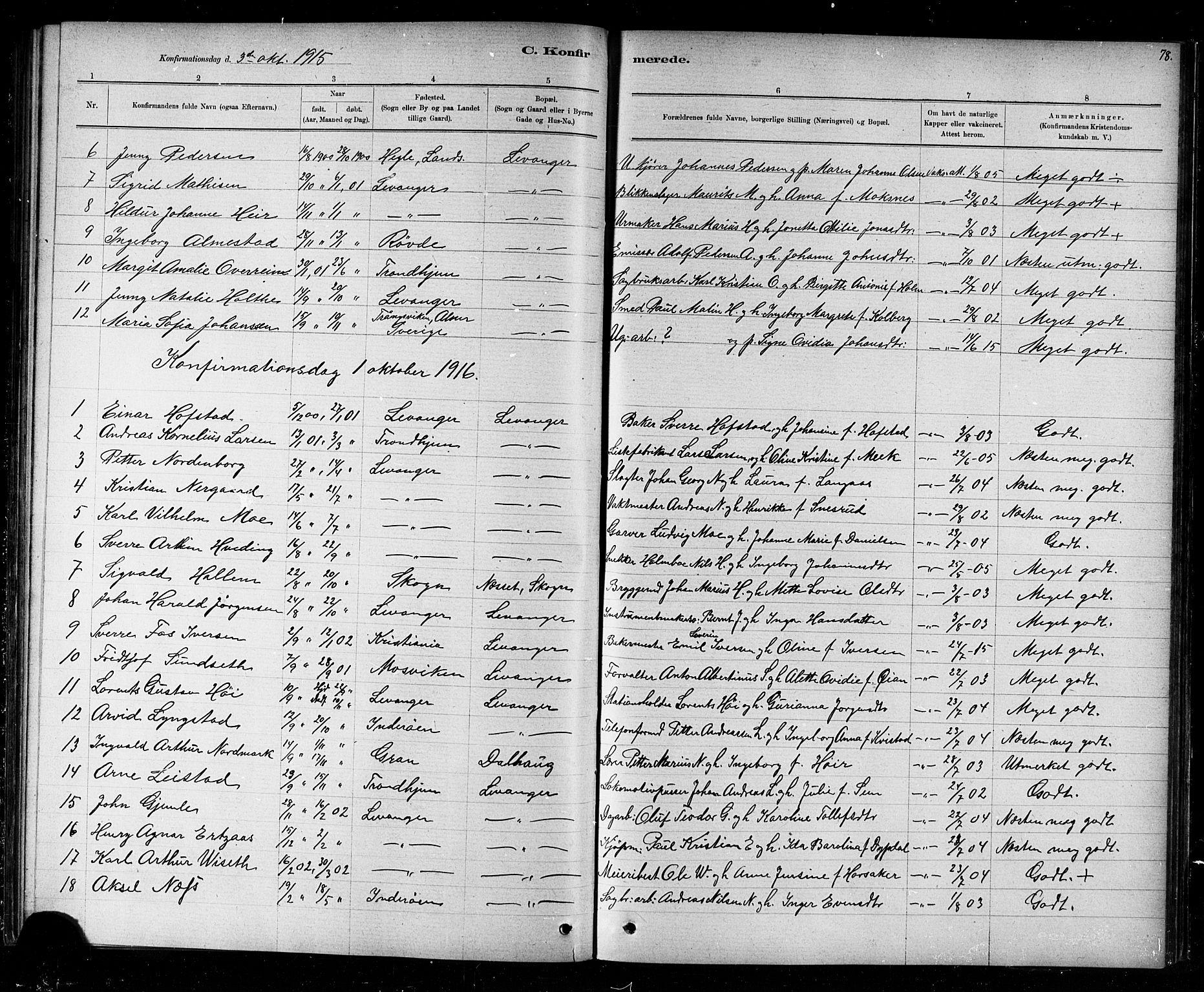 SAT, Ministerialprotokoller, klokkerbøker og fødselsregistre - Nord-Trøndelag, 720/L0192: Klokkerbok nr. 720C01, 1880-1917, s. 78