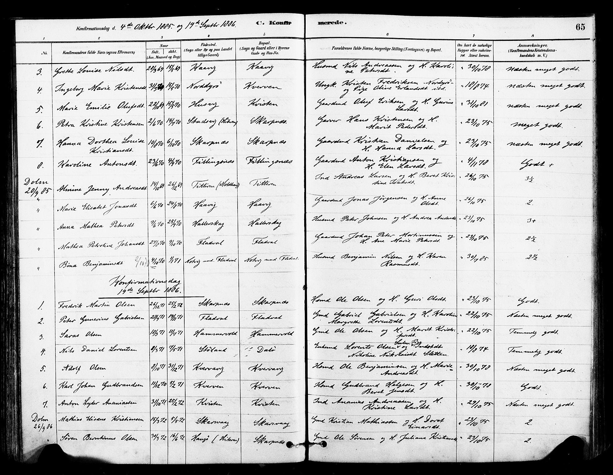 SAT, Ministerialprotokoller, klokkerbøker og fødselsregistre - Sør-Trøndelag, 641/L0595: Ministerialbok nr. 641A01, 1882-1897, s. 65