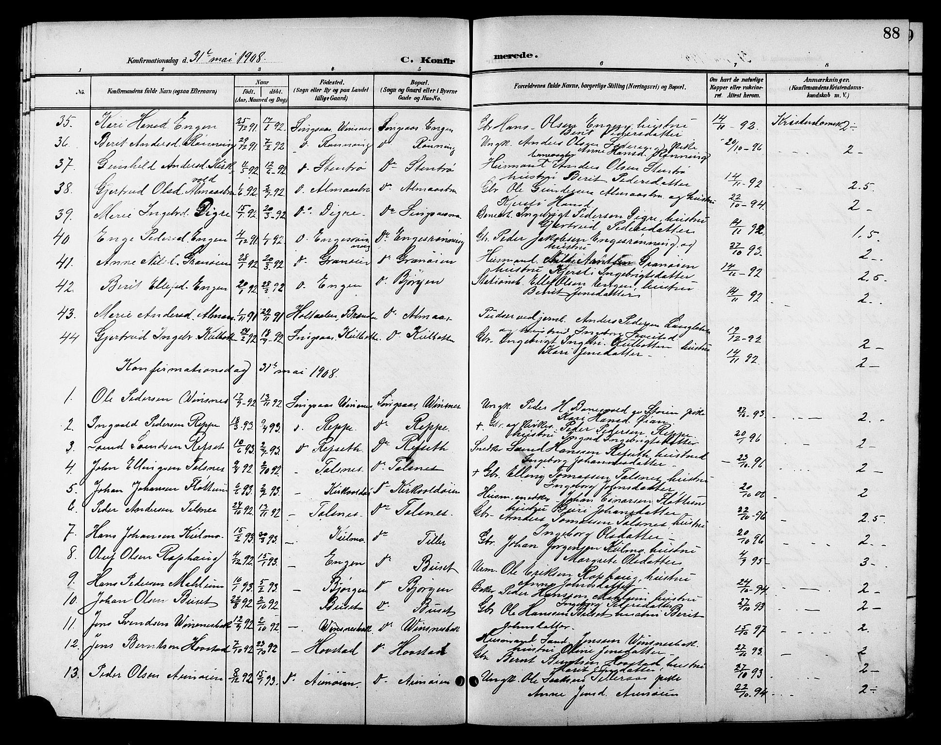 SAT, Ministerialprotokoller, klokkerbøker og fødselsregistre - Sør-Trøndelag, 688/L1029: Klokkerbok nr. 688C04, 1899-1915, s. 88
