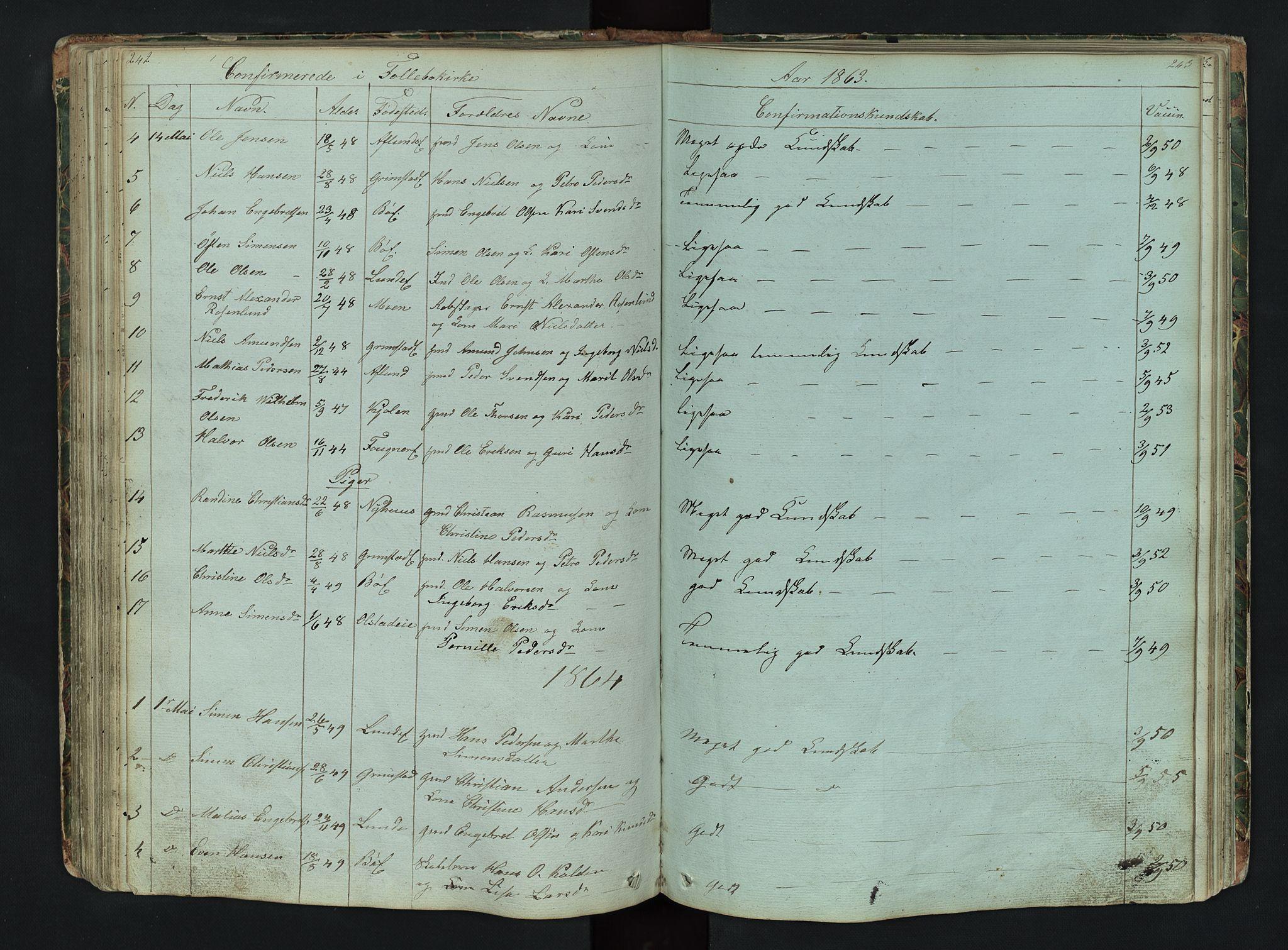 SAH, Gausdal prestekontor, Klokkerbok nr. 6, 1846-1893, s. 242-243