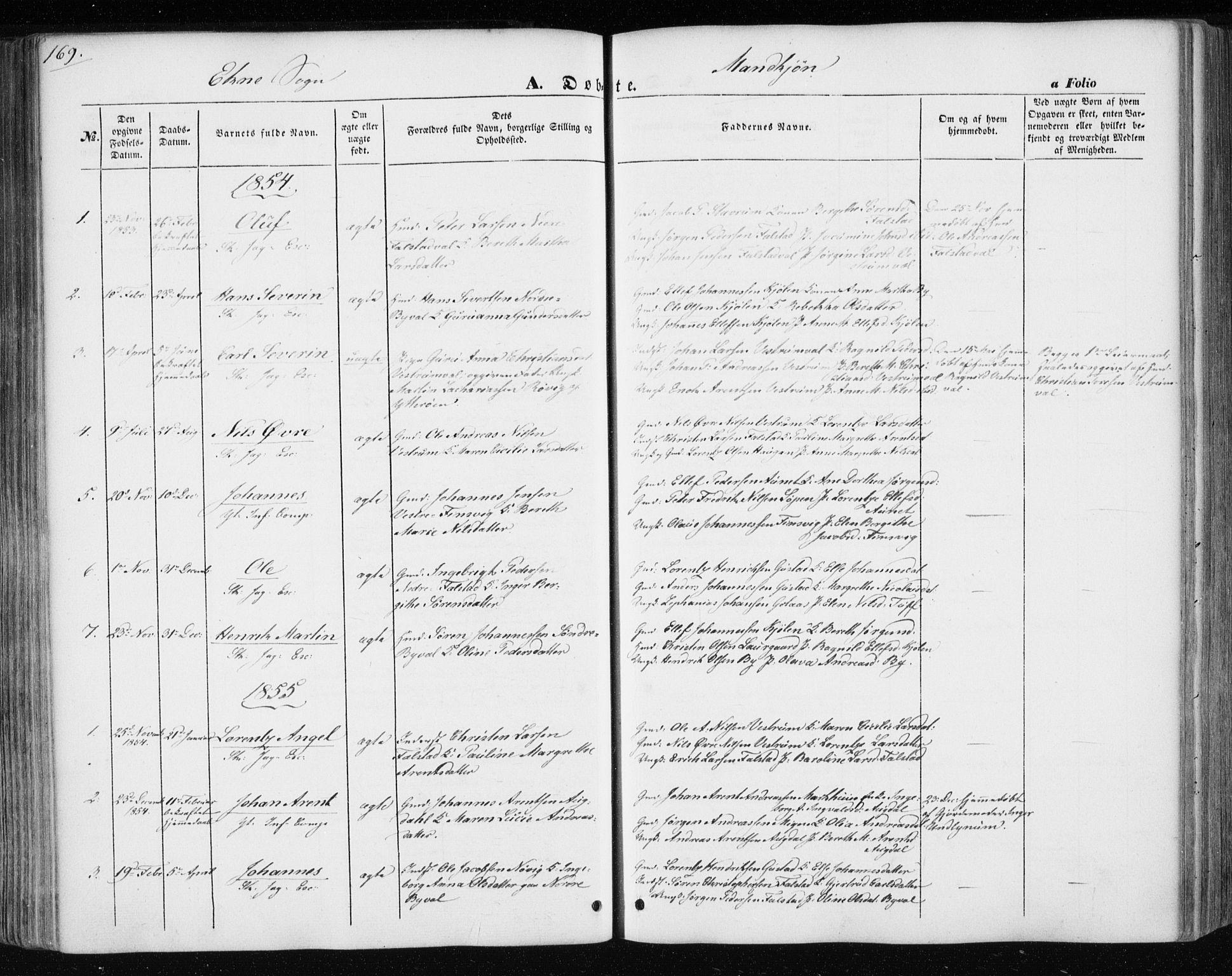 SAT, Ministerialprotokoller, klokkerbøker og fødselsregistre - Nord-Trøndelag, 717/L0154: Ministerialbok nr. 717A07 /3, 1850-1862, s. 169