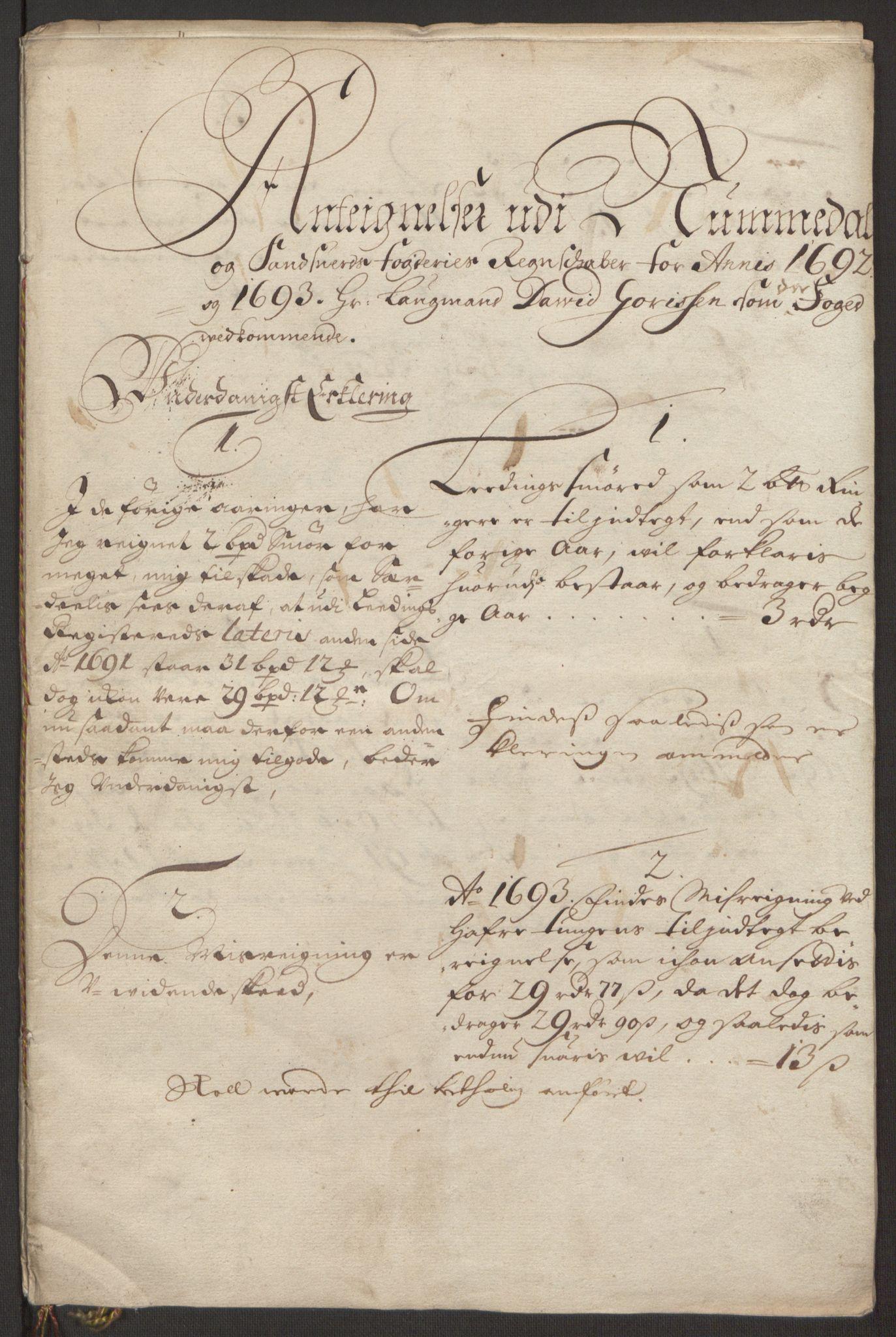 RA, Rentekammeret inntil 1814, Reviderte regnskaper, Fogderegnskap, R24/L1575: Fogderegnskap Numedal og Sandsvær, 1692-1695, s. 511