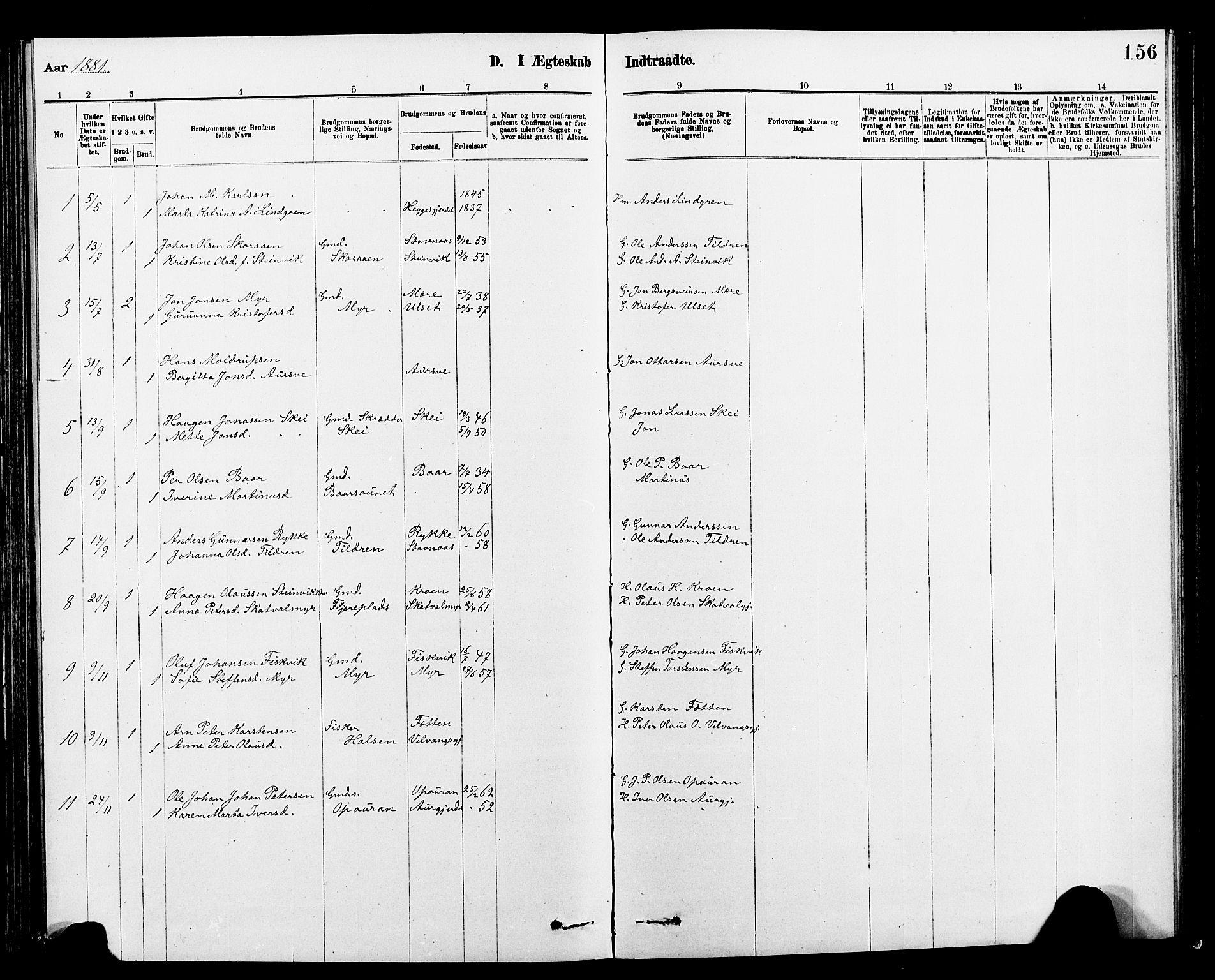 SAT, Ministerialprotokoller, klokkerbøker og fødselsregistre - Nord-Trøndelag, 712/L0103: Klokkerbok nr. 712C01, 1878-1917, s. 156