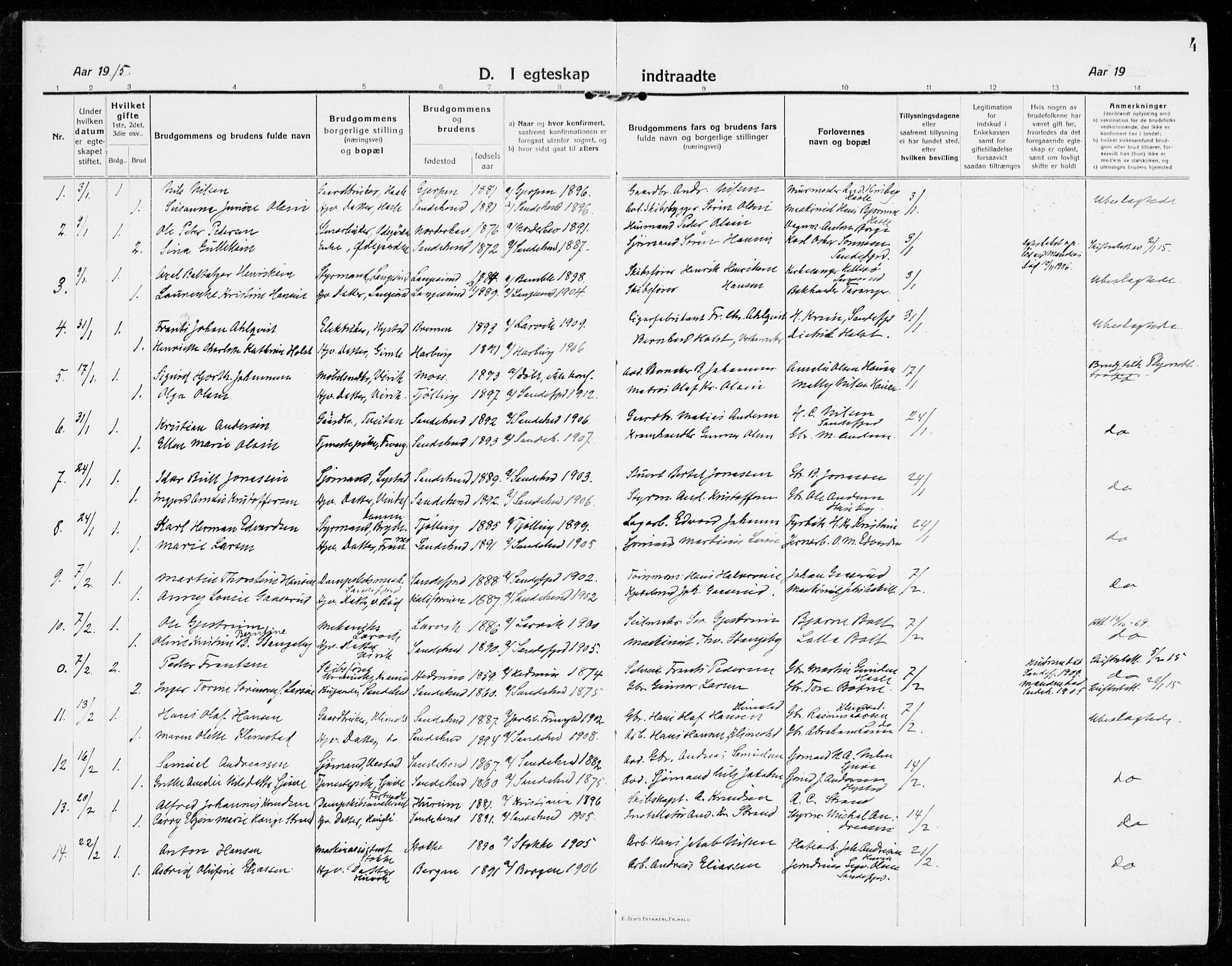 SAKO, Sandar kirkebøker, F/Fa/L0020: Ministerialbok nr. 20, 1915-1919, s. 4