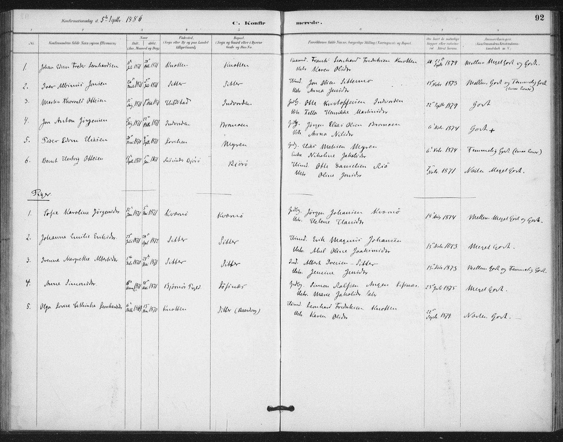 SAT, Ministerialprotokoller, klokkerbøker og fødselsregistre - Nord-Trøndelag, 772/L0603: Ministerialbok nr. 772A01, 1885-1912, s. 92