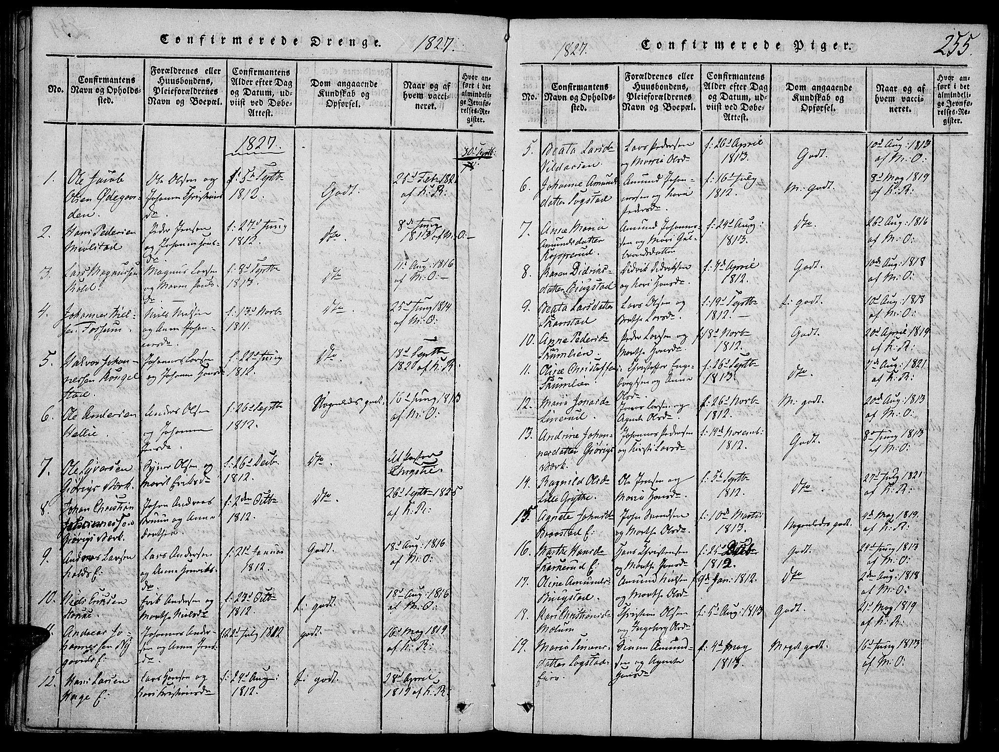SAH, Vardal prestekontor, H/Ha/Haa/L0004: Ministerialbok nr. 4, 1814-1831, s. 255