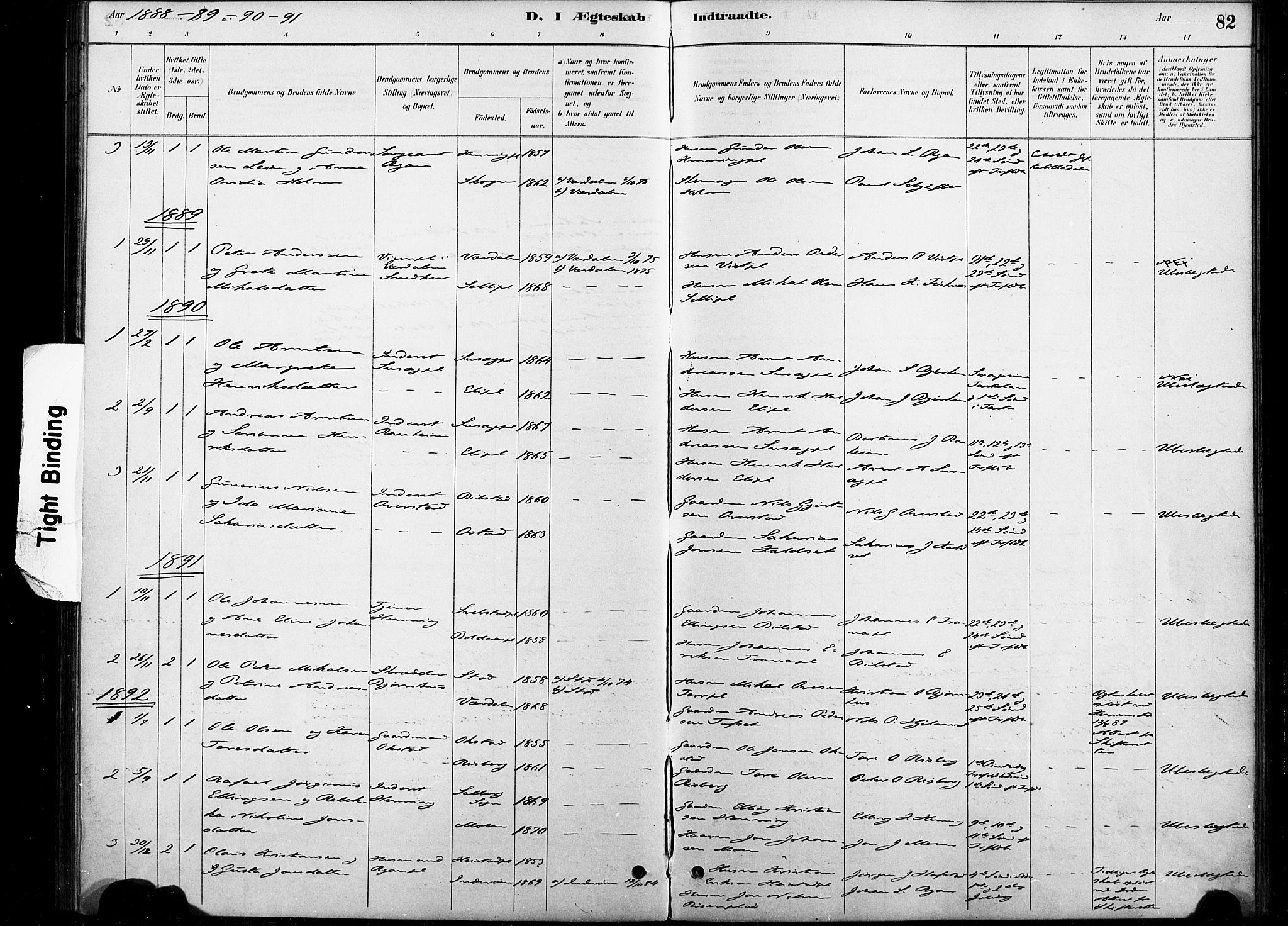 SAT, Ministerialprotokoller, klokkerbøker og fødselsregistre - Nord-Trøndelag, 738/L0364: Ministerialbok nr. 738A01, 1884-1902, s. 82
