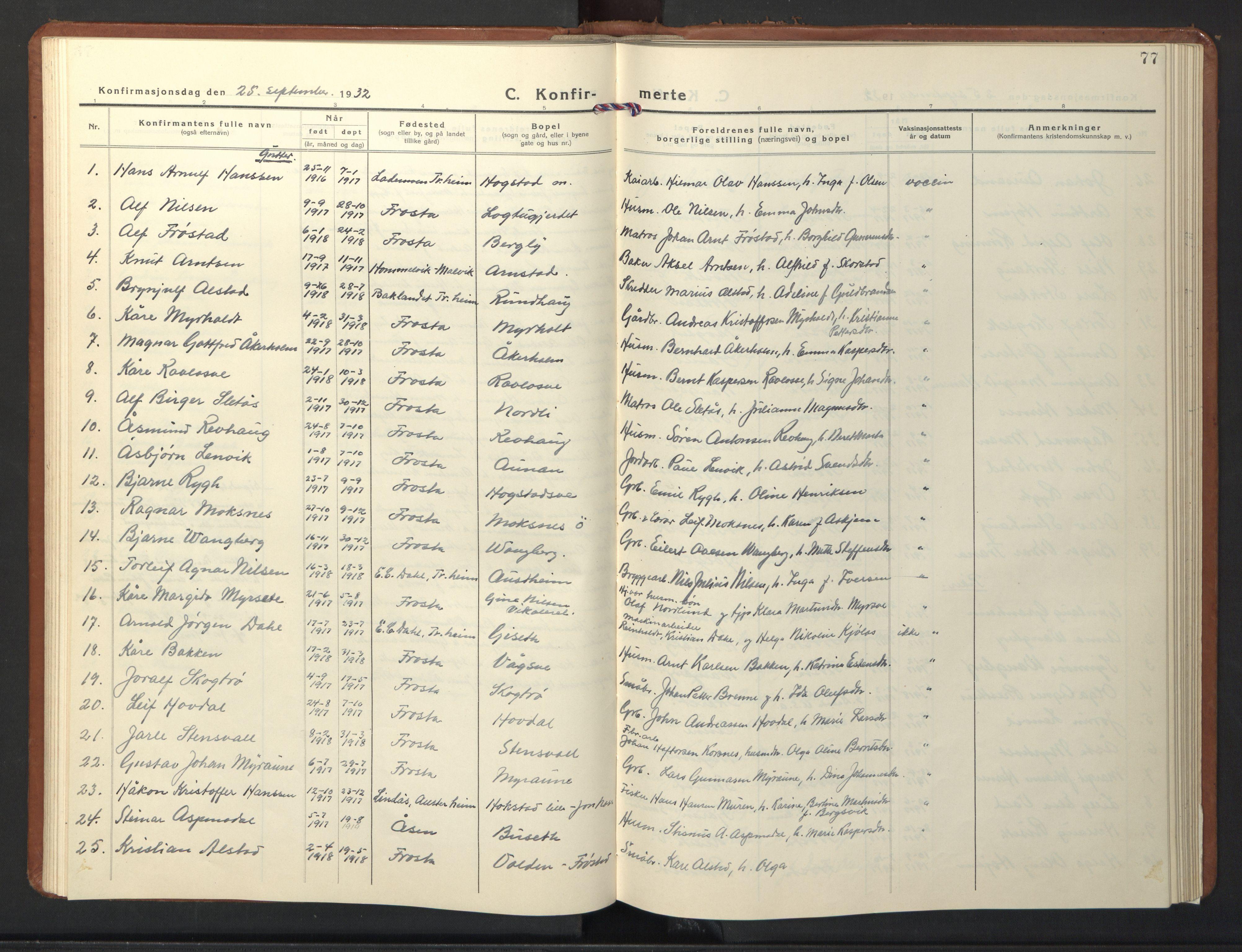 SAT, Ministerialprotokoller, klokkerbøker og fødselsregistre - Nord-Trøndelag, 713/L0125: Klokkerbok nr. 713C02, 1931-1941, s. 77